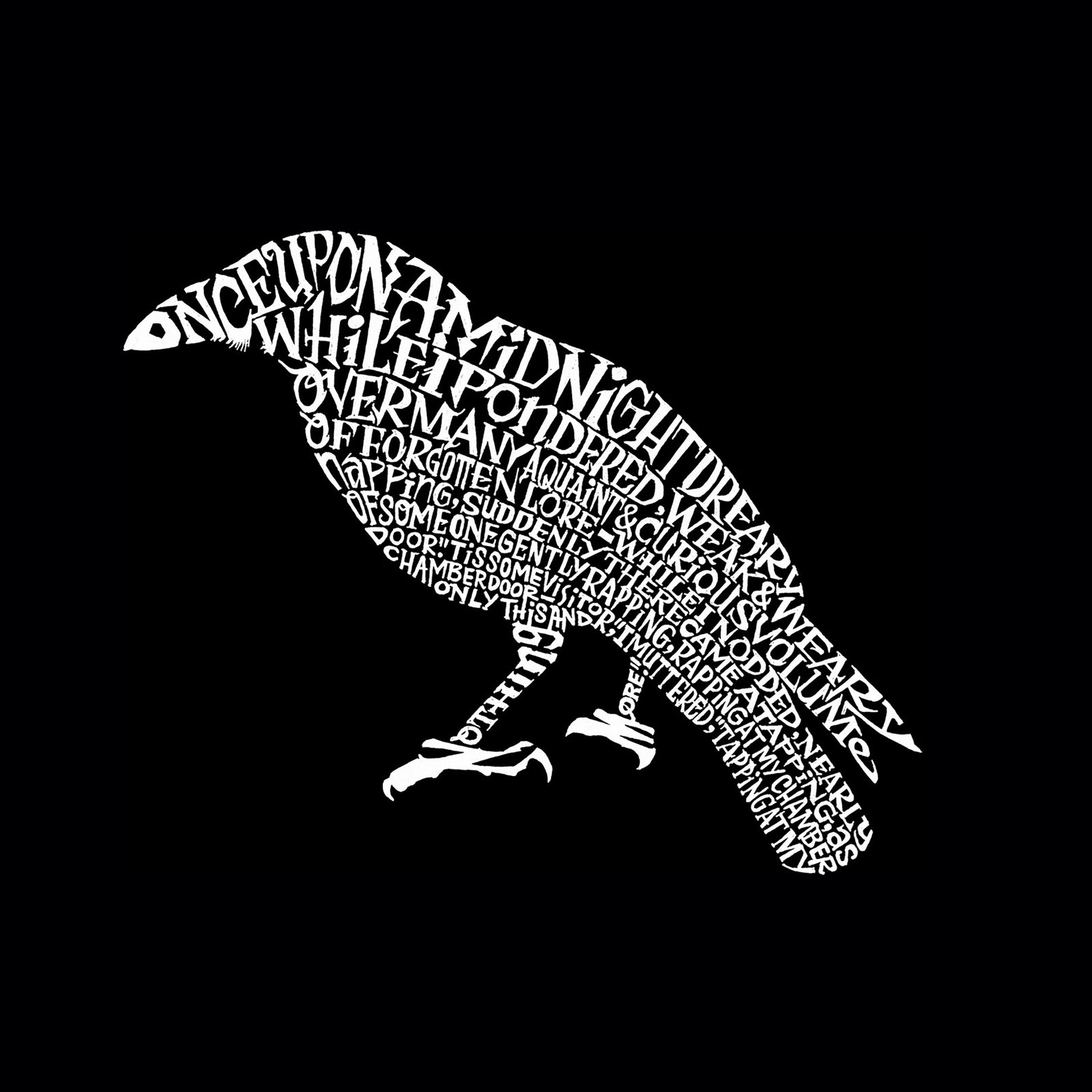 Women's Word Art Long Sleeve T-Shirt - Edgar Allen Poe's The Raven