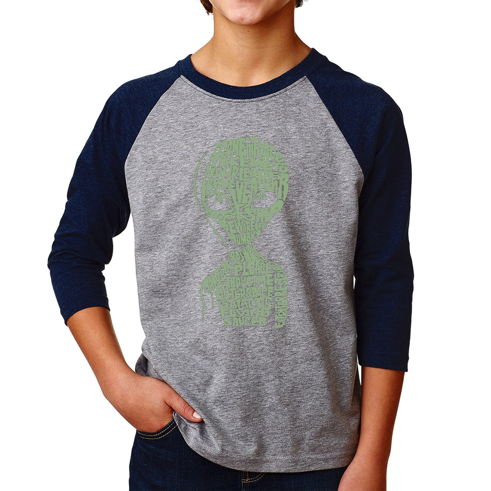 Boy's Raglan Baseball Word Art T-shirt - Alien