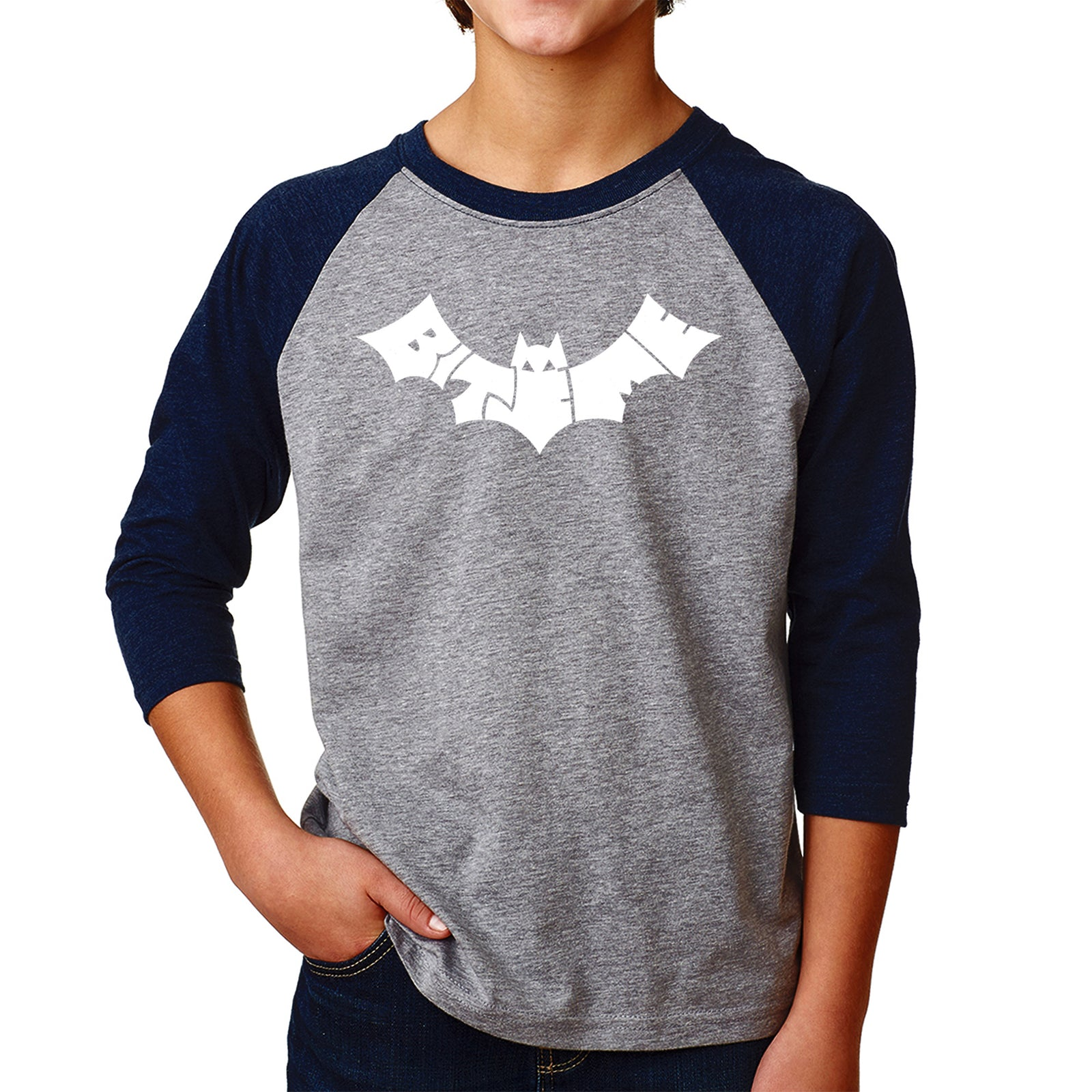 Boy's Raglan Baseball Word Art T-shirt - BAT - BITE ME