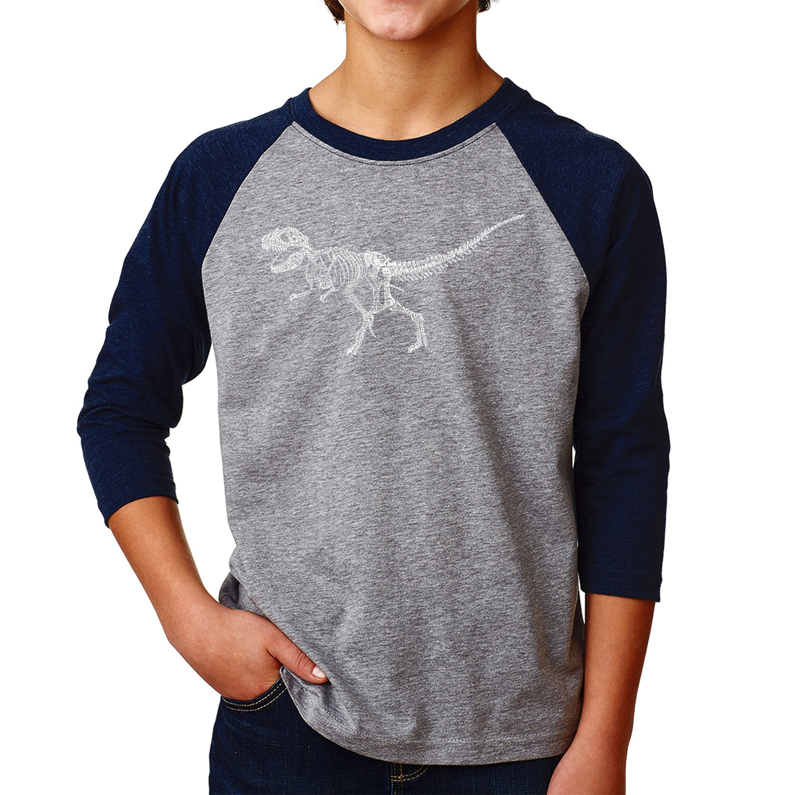 Boy's Raglan Baseball Word Art T-shirt - Dinosaur T-Rex Skeleton