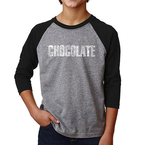 Boy's Raglan Baseball Word Art T-shirt - Different foods made with chocolate