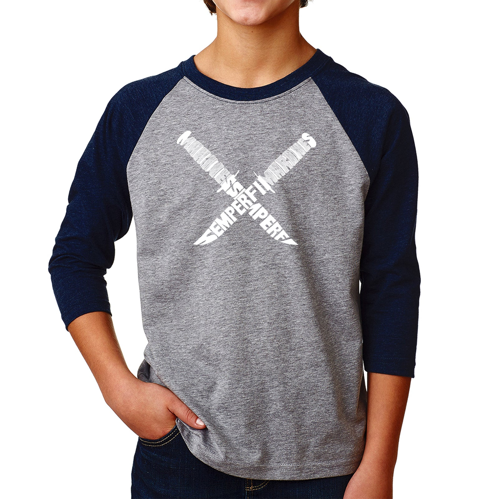 Boy's Raglan Baseball Word Art T-shirt - Semper Fi