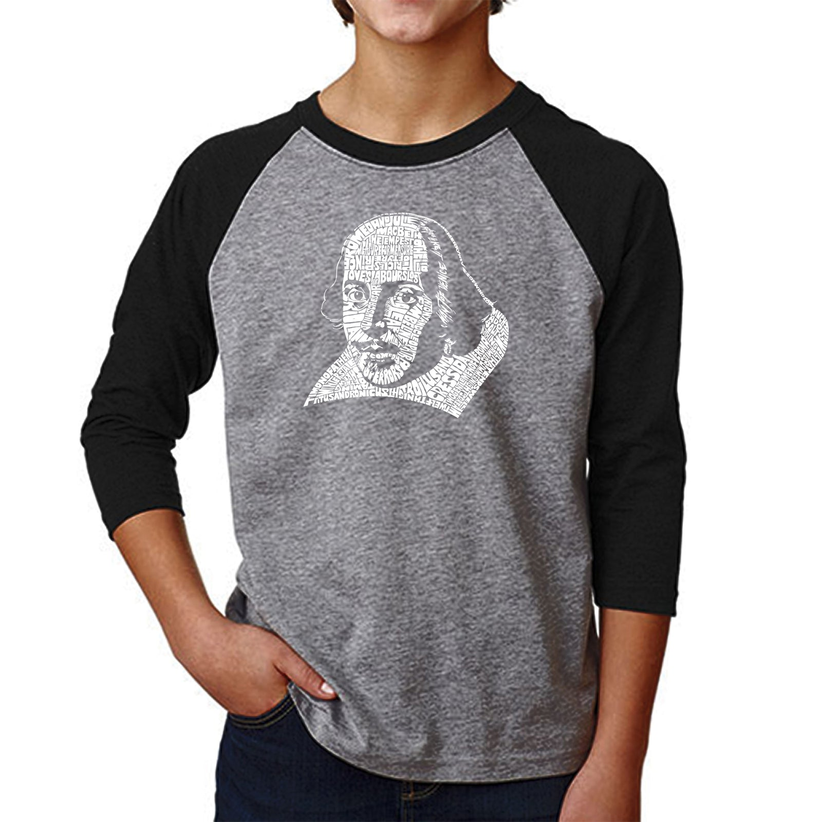 Boy's Raglan Baseball Word Art T-shirt - THE TITLES OF ALL OF WILLIAM SHAKESPEARE'S COMEDIES & TRAGEDIES
