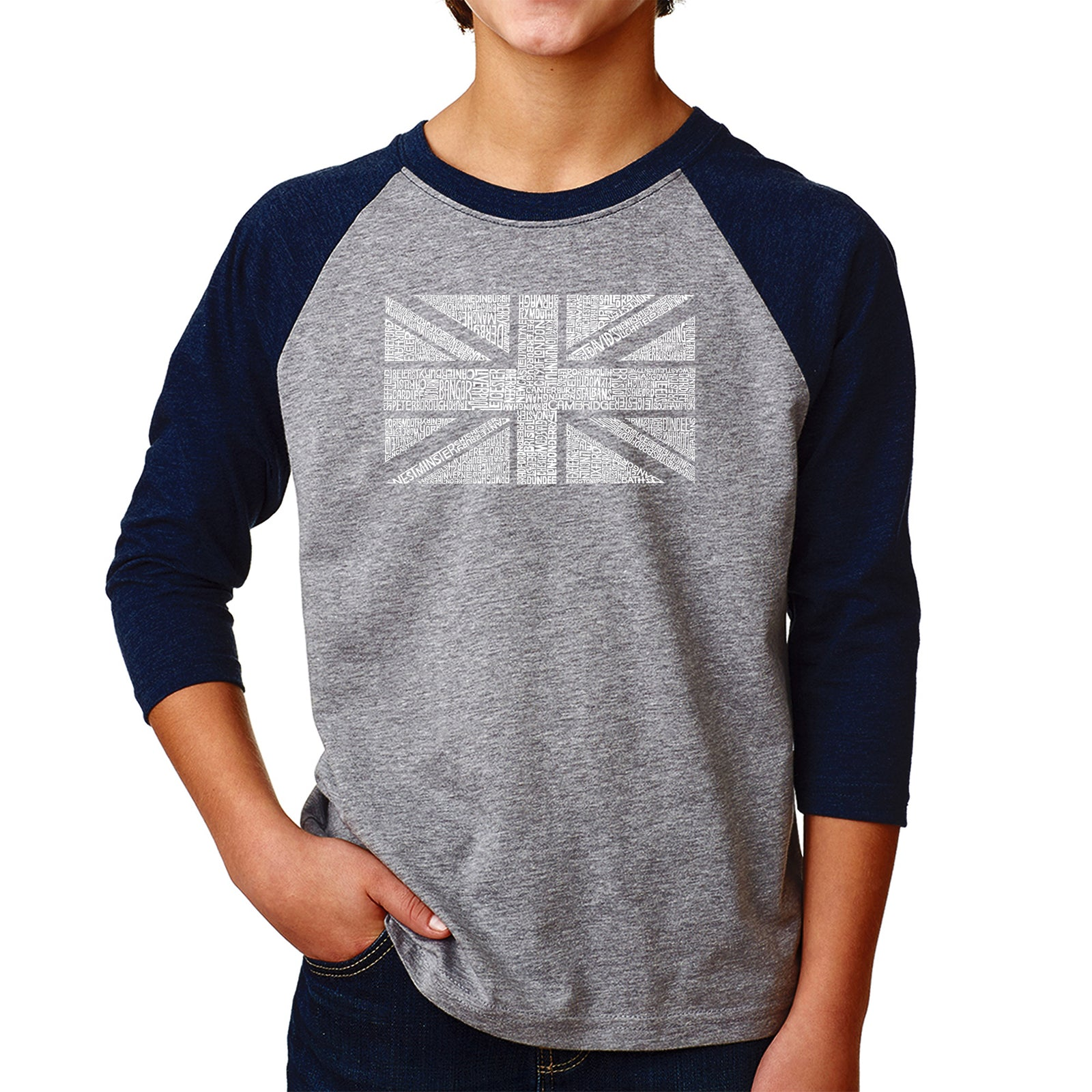Boy's Raglan Baseball Word Art T-shirt - UNION JACK