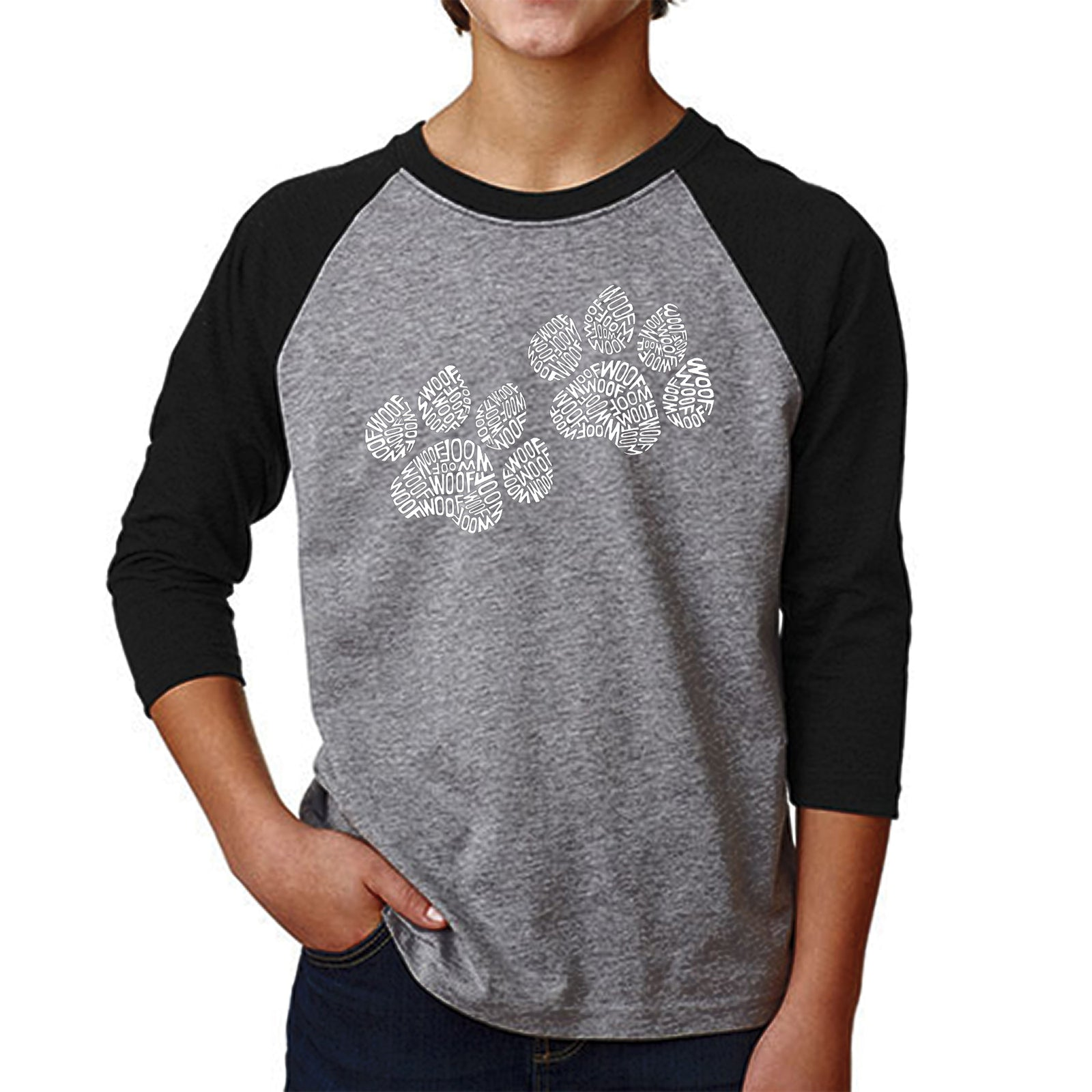 Boy's Raglan Baseball Word Art T-shirt - Woof Paw Prints