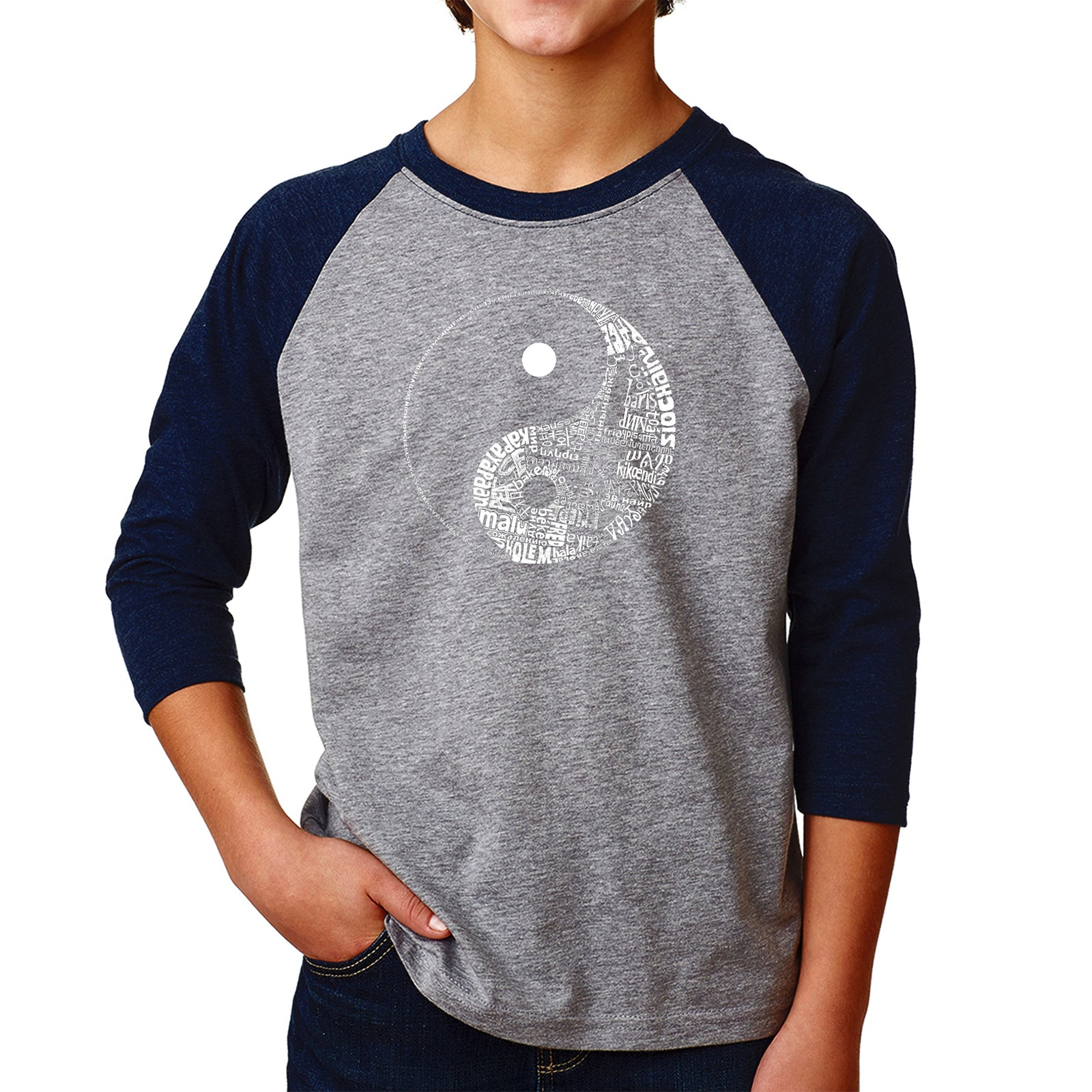 Boy's Raglan Baseball Word Art T-shirt - YIN YANG