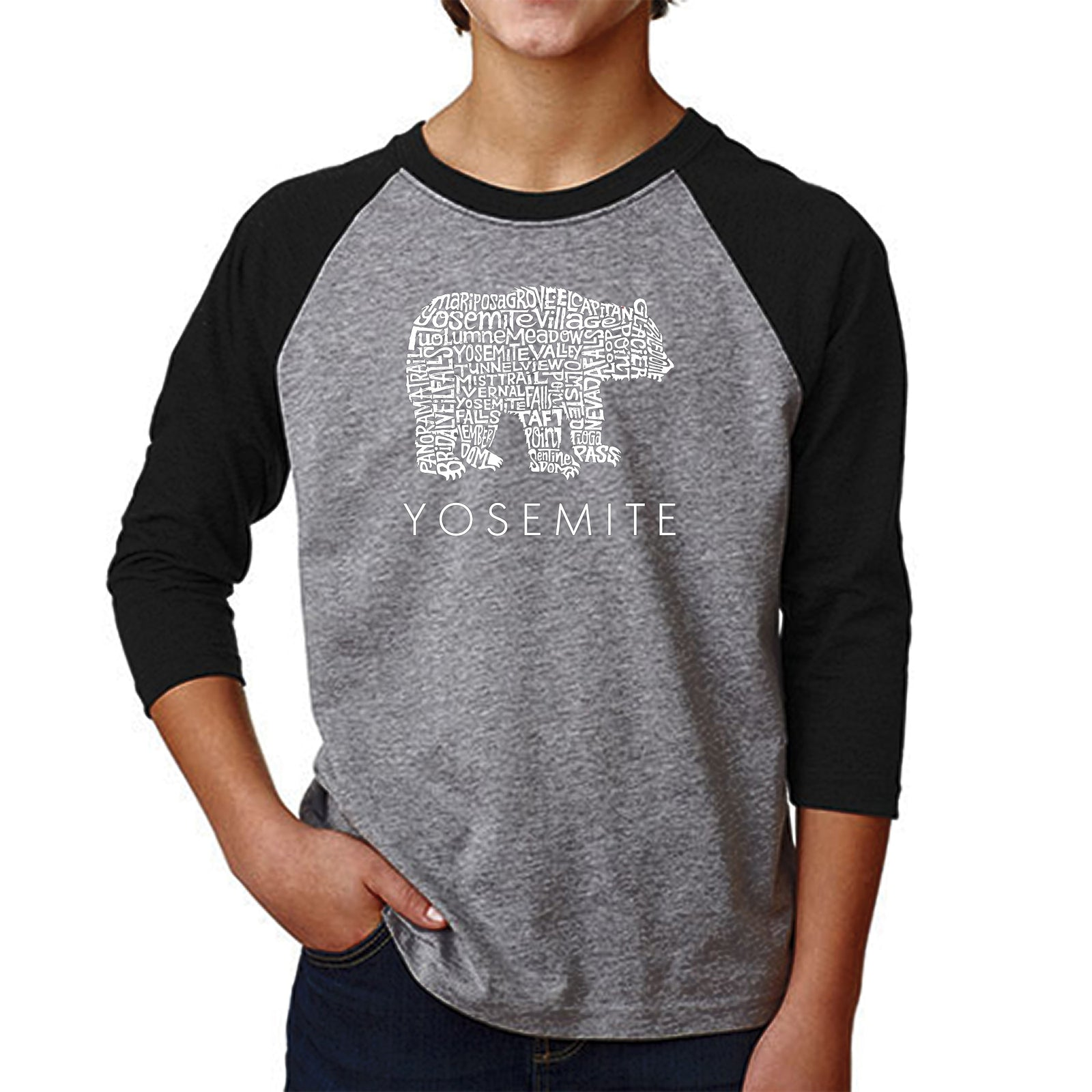 Boy's Raglan Baseball Word Art T-shirt - Yosemite Bear