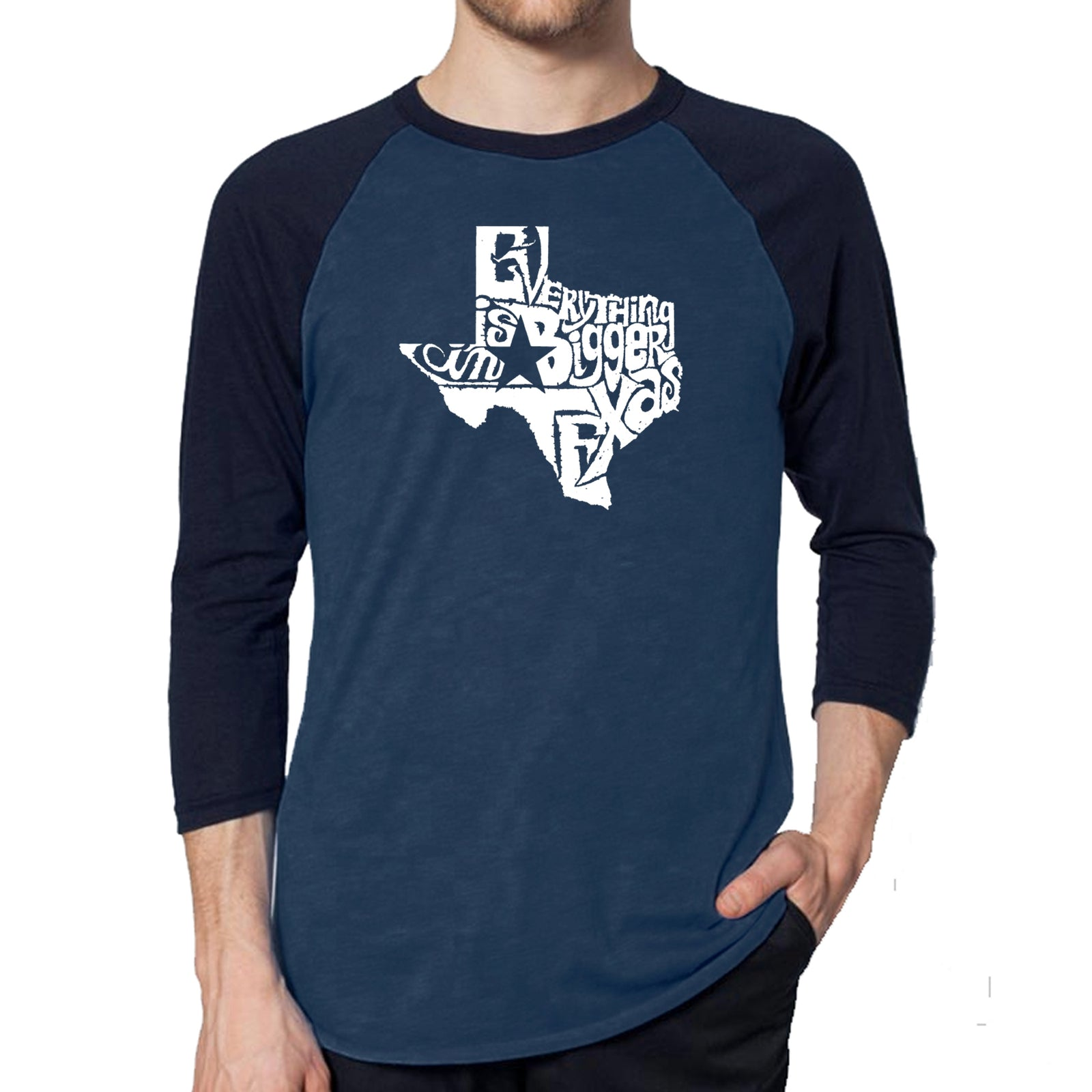Men's Raglan Baseball Word Art T-shirt - Everything is Bigger in Texas
