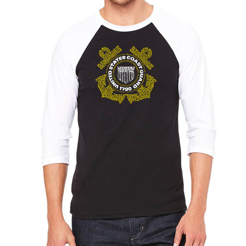 Men's Raglan Baseball Word Art T-shirt - Coast Guard