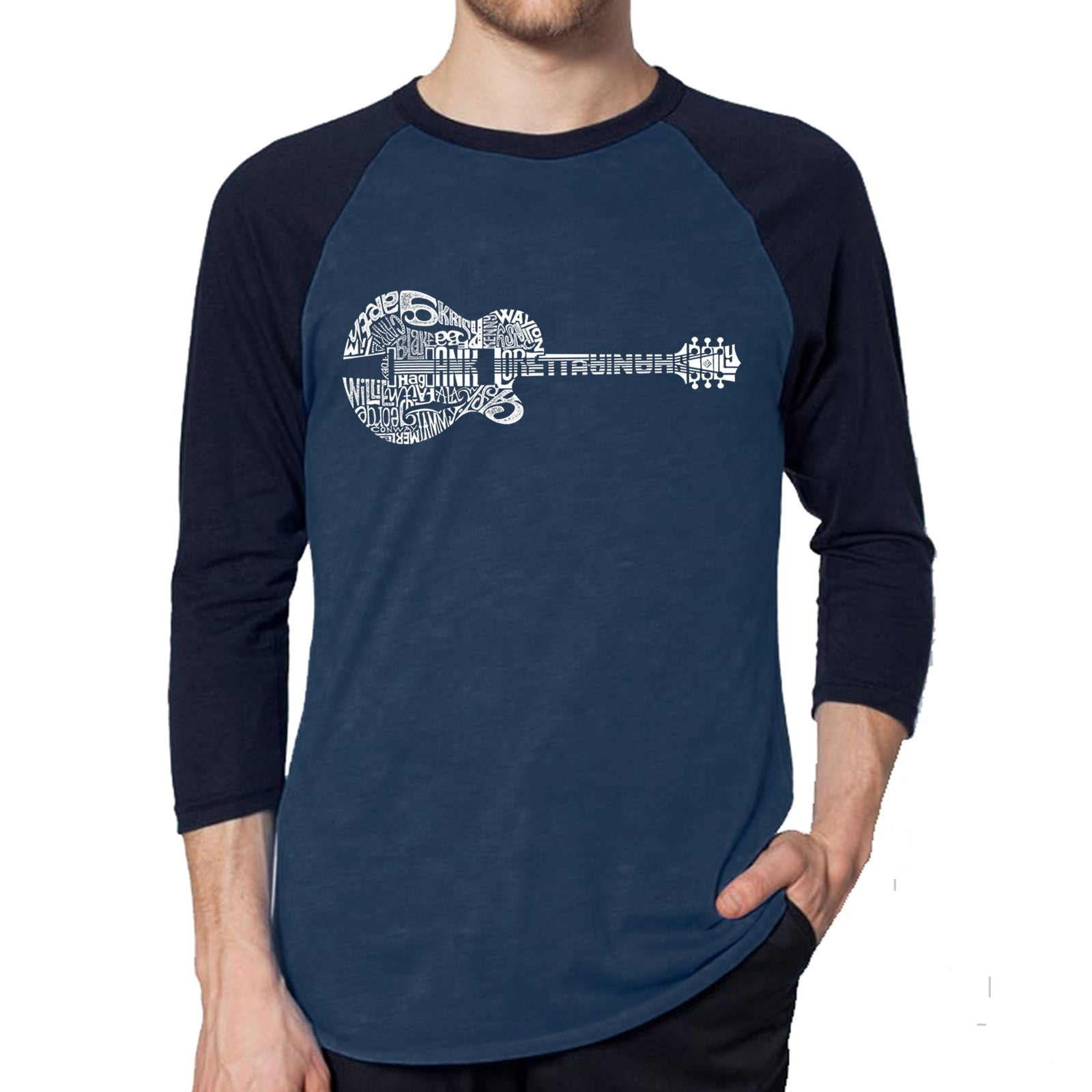 Men's Raglan Baseball Word Art T-shirt - Country Guitar