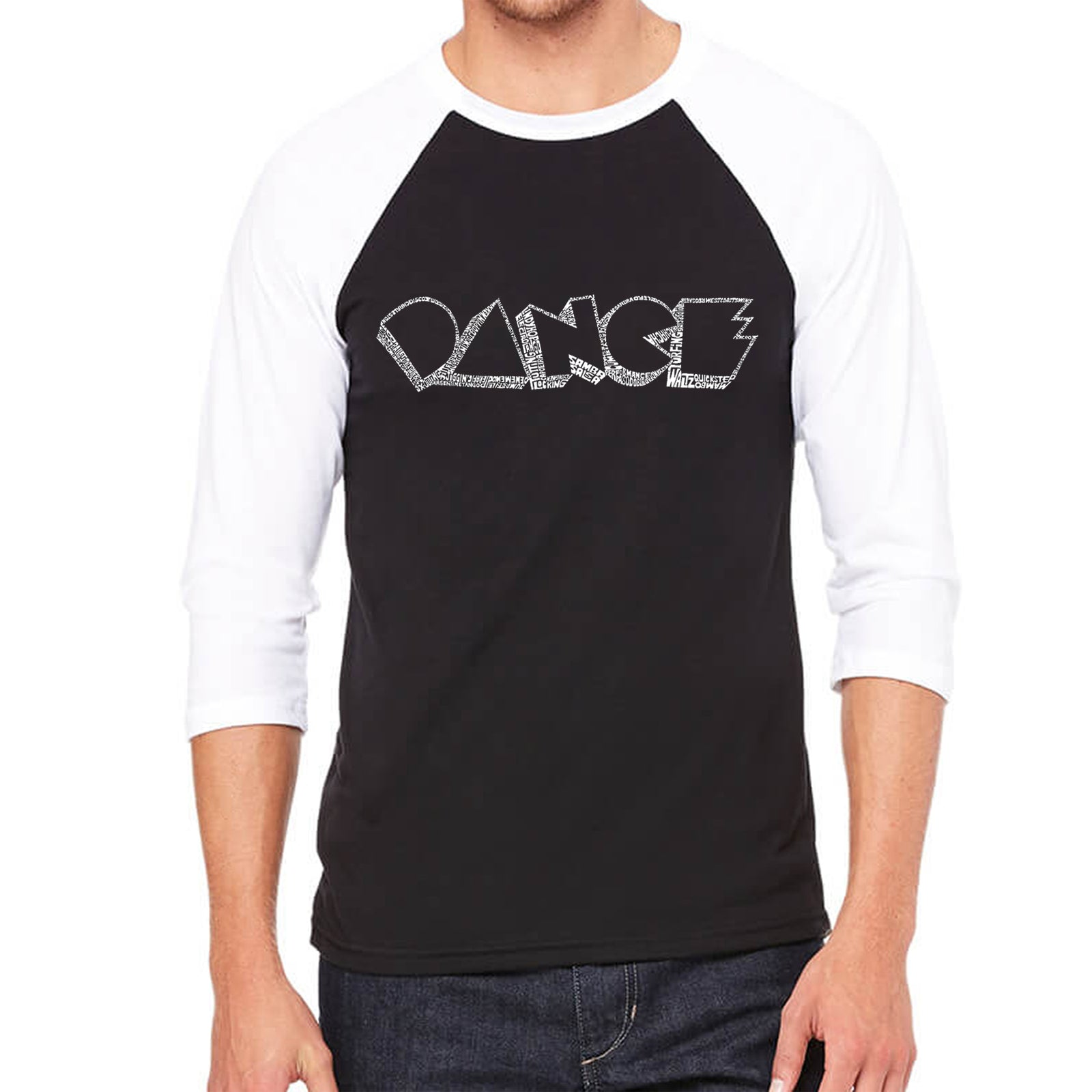 Men's Raglan Baseball Word Art T-shirt - DIFFERENT STYLES OF DANCE