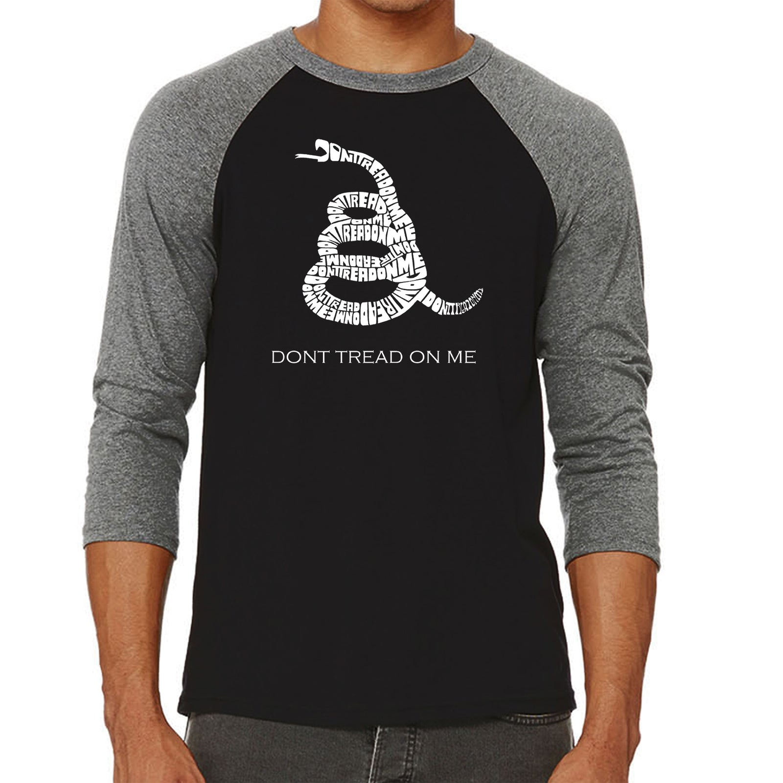 Men's Raglan Baseball Word Art T-shirt - DONT TREAD ON ME