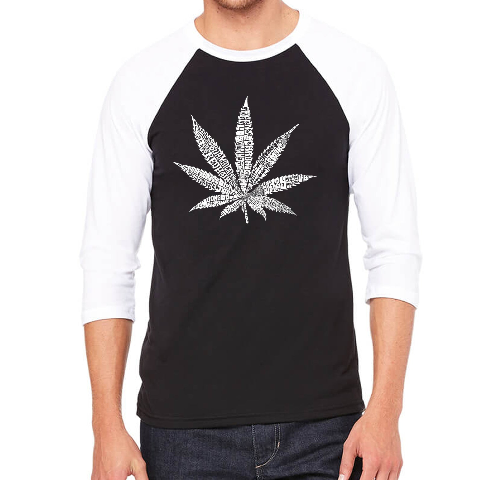 Men's Raglan Baseball Word Art T-shirt - 50 DIFFERENT STREET TERMS FOR MARIJUANA
