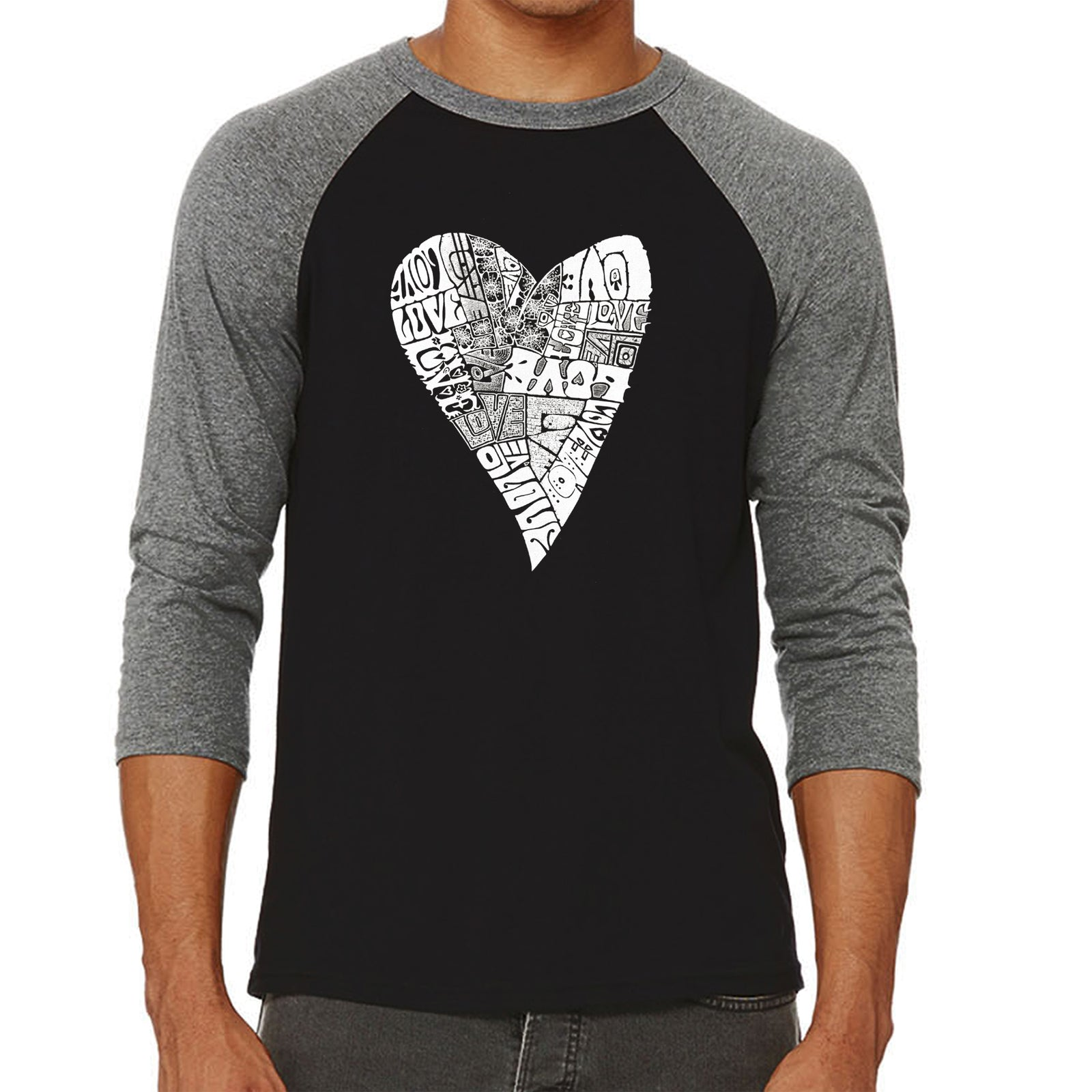 Men's Raglan Baseball Word Art T-shirt - Lots of Love