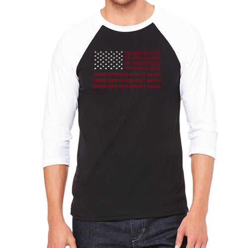 Men's Raglan Baseball Word Art T-shirt - Maga Flag