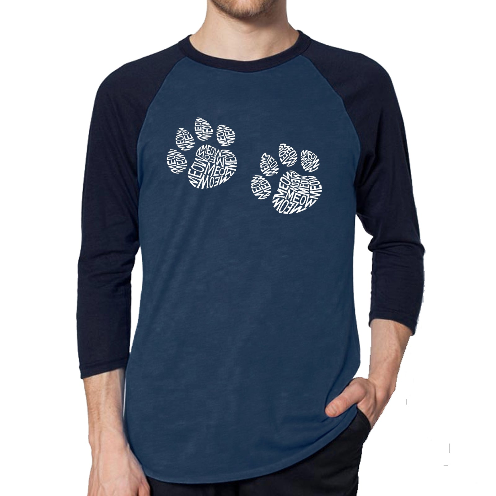 Men's Raglan Baseball Word Art T-shirt - Meow Cat Prints