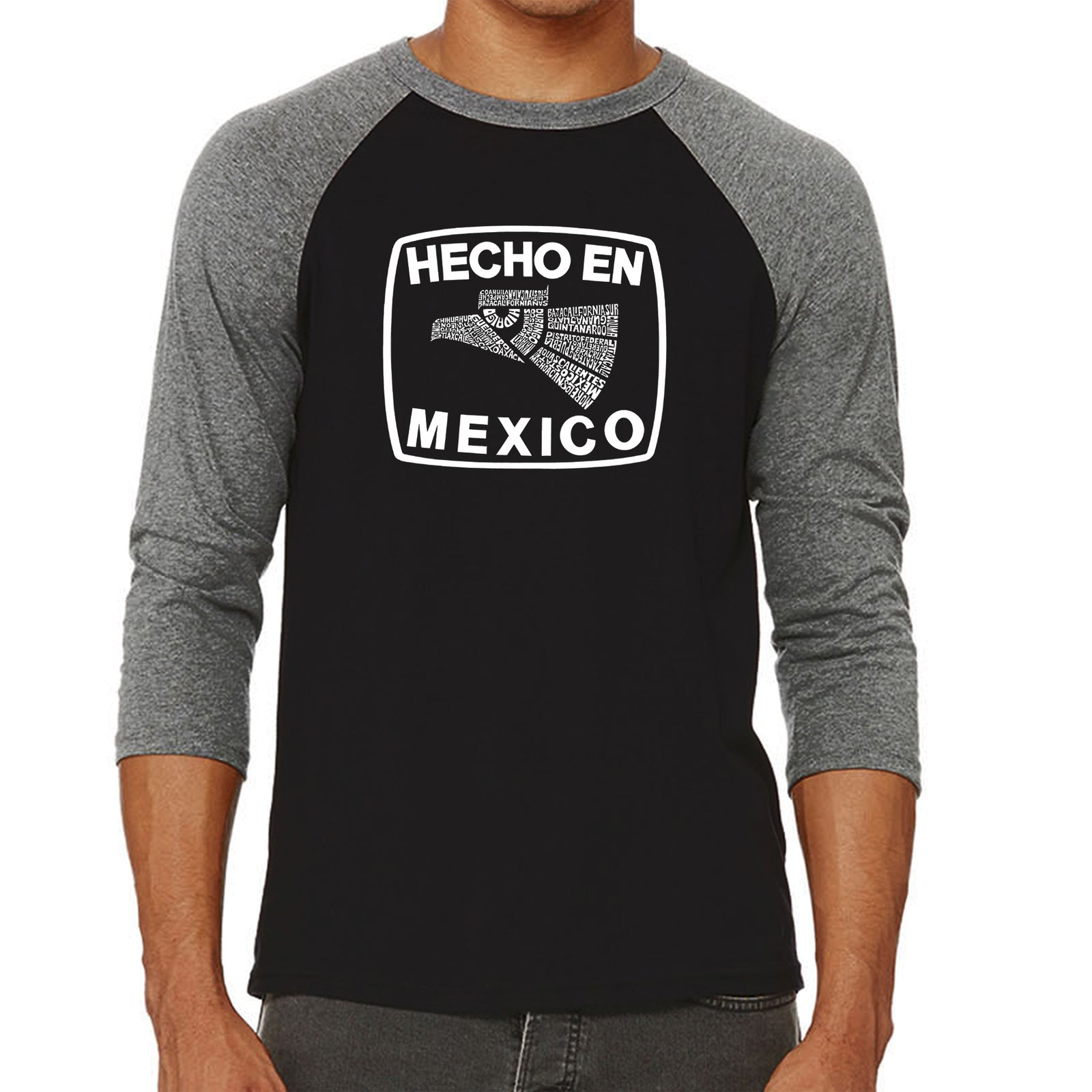 Men's Raglan Baseball Word Art T-shirt - HECHO EN MEXICO