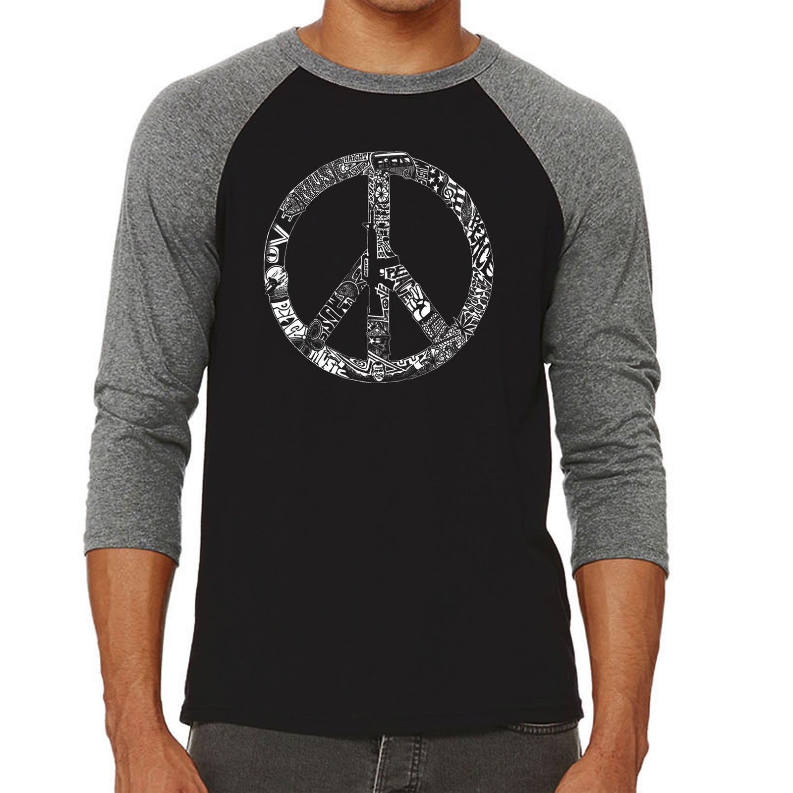 Men's Raglan Baseball Word Art T-shirt - PEACE, LOVE, & MUSIC