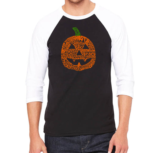 Men's Raglan Baseball Word Art T-shirt - Pumpkin
