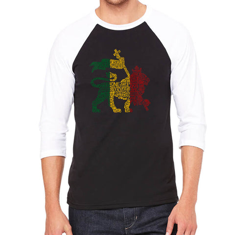 Men's Raglan Baseball Word Art T-shirt - Lion