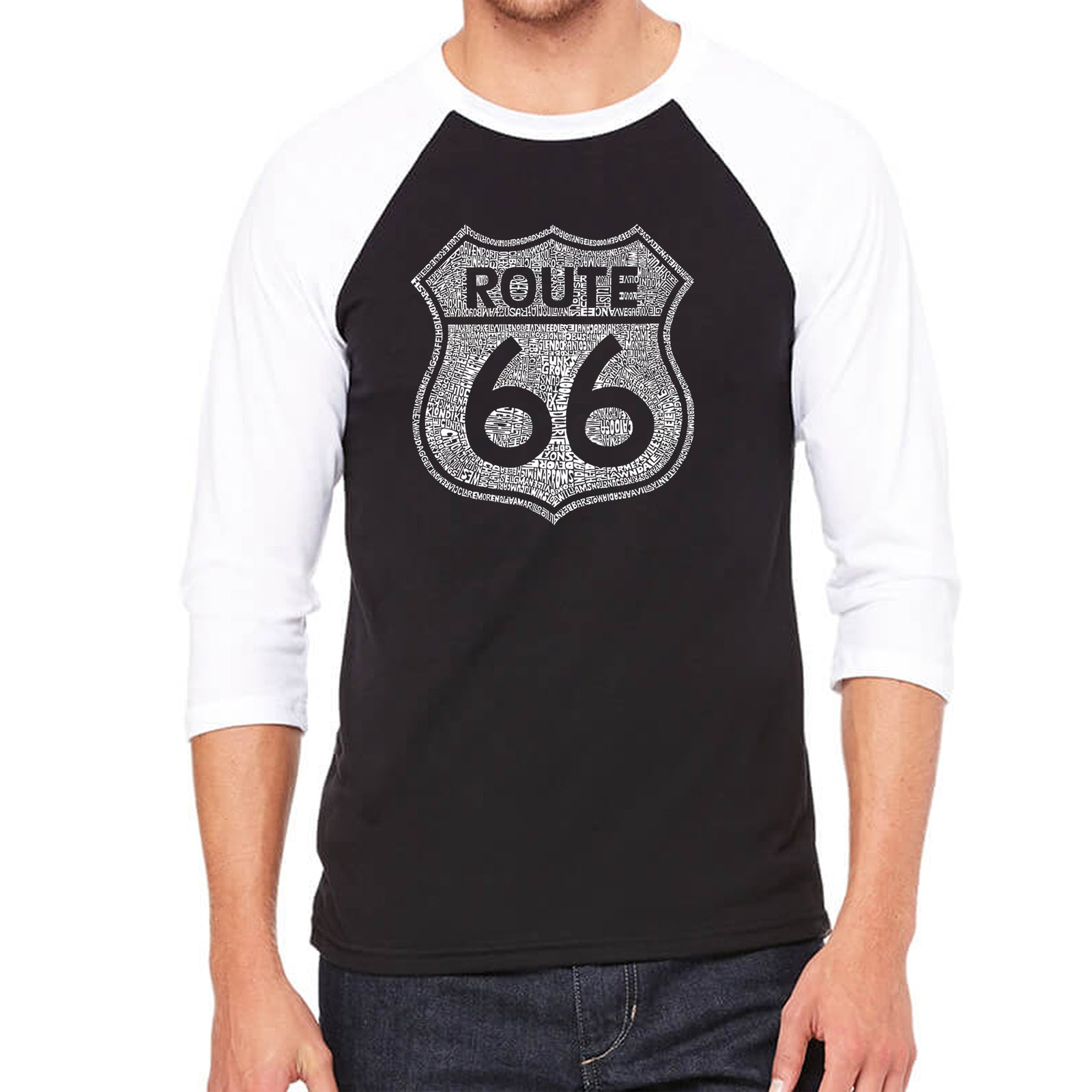 Men's Raglan Baseball Word Art T-shirt - CITIES ALONG THE LEGENDARY ROUTE 66