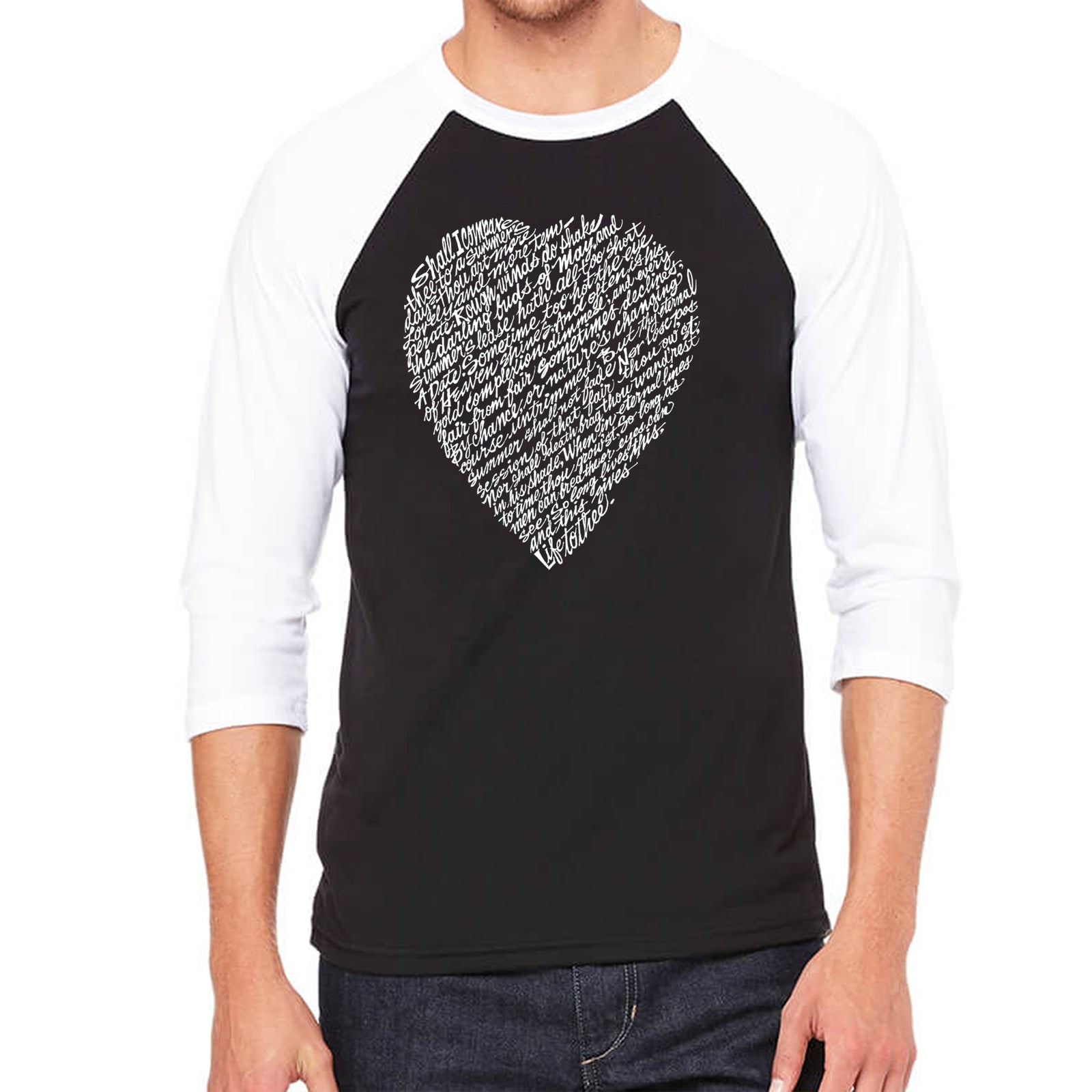 Men's Raglan Baseball Word Art T-shirt - WILLIAM SHAKESPEARE'S SONNET 18