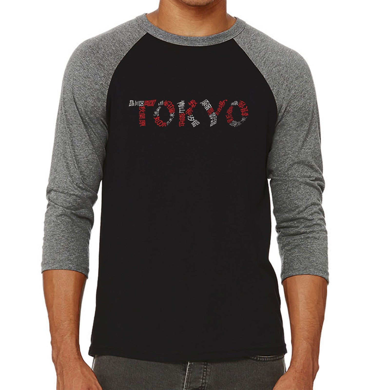 Men's Raglan Baseball Word Art T-shirt - THE NEIGHBORHOODS OF TOKYO