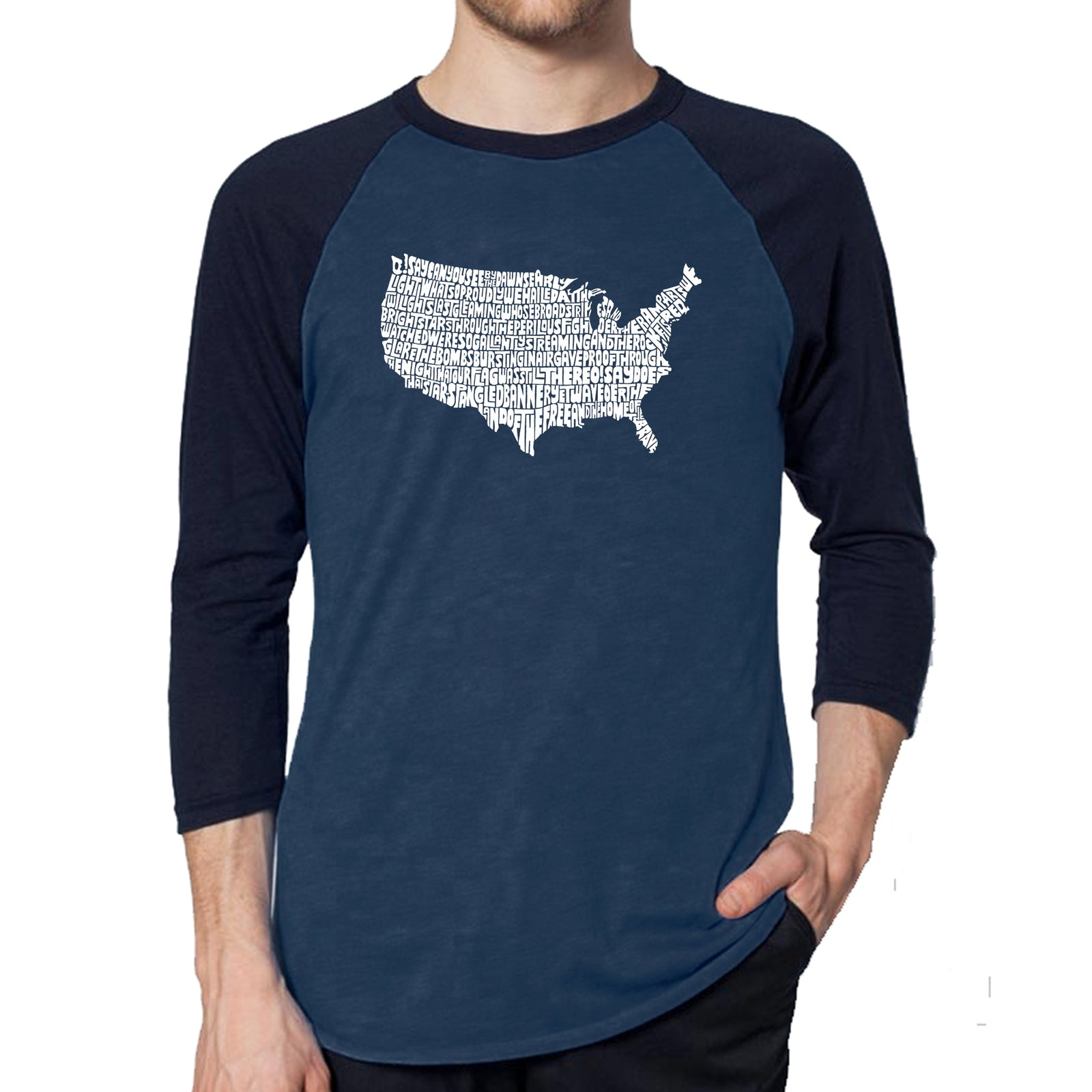 Men's Raglan Baseball Word Art T-shirt - THE STAR SPANGLED BANNER