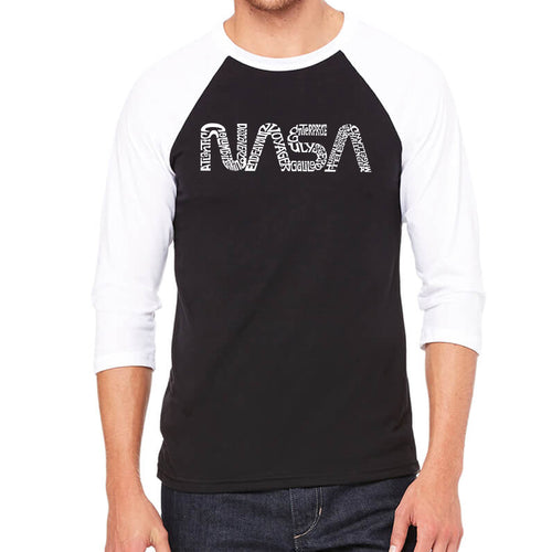 Men's Raglan Baseball Word Art T-shirt - Worm Nasa
