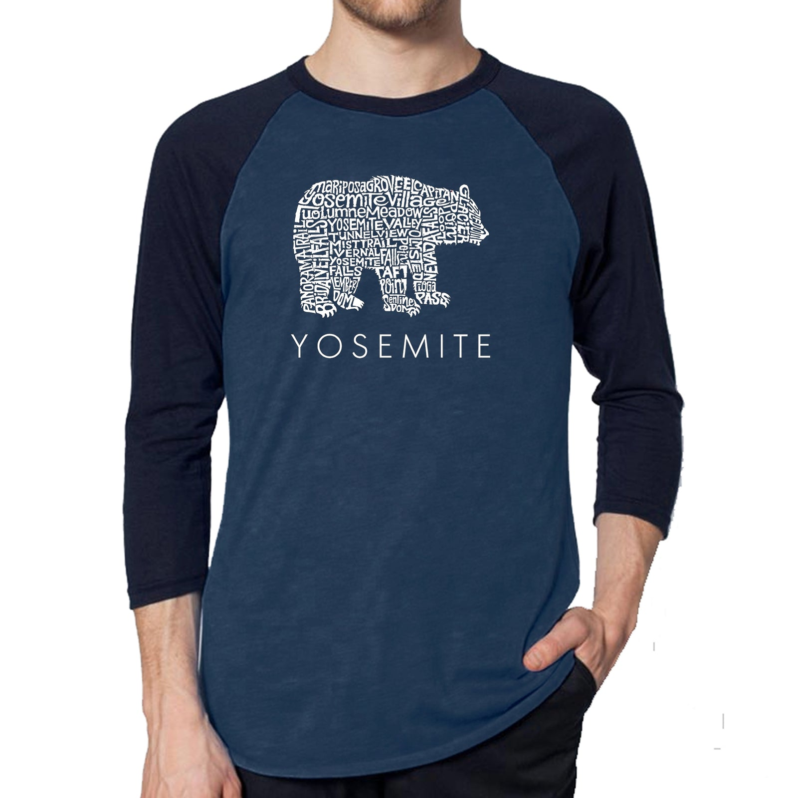 Men's Raglan Baseball Word Art T-shirt - Yosemite Bear