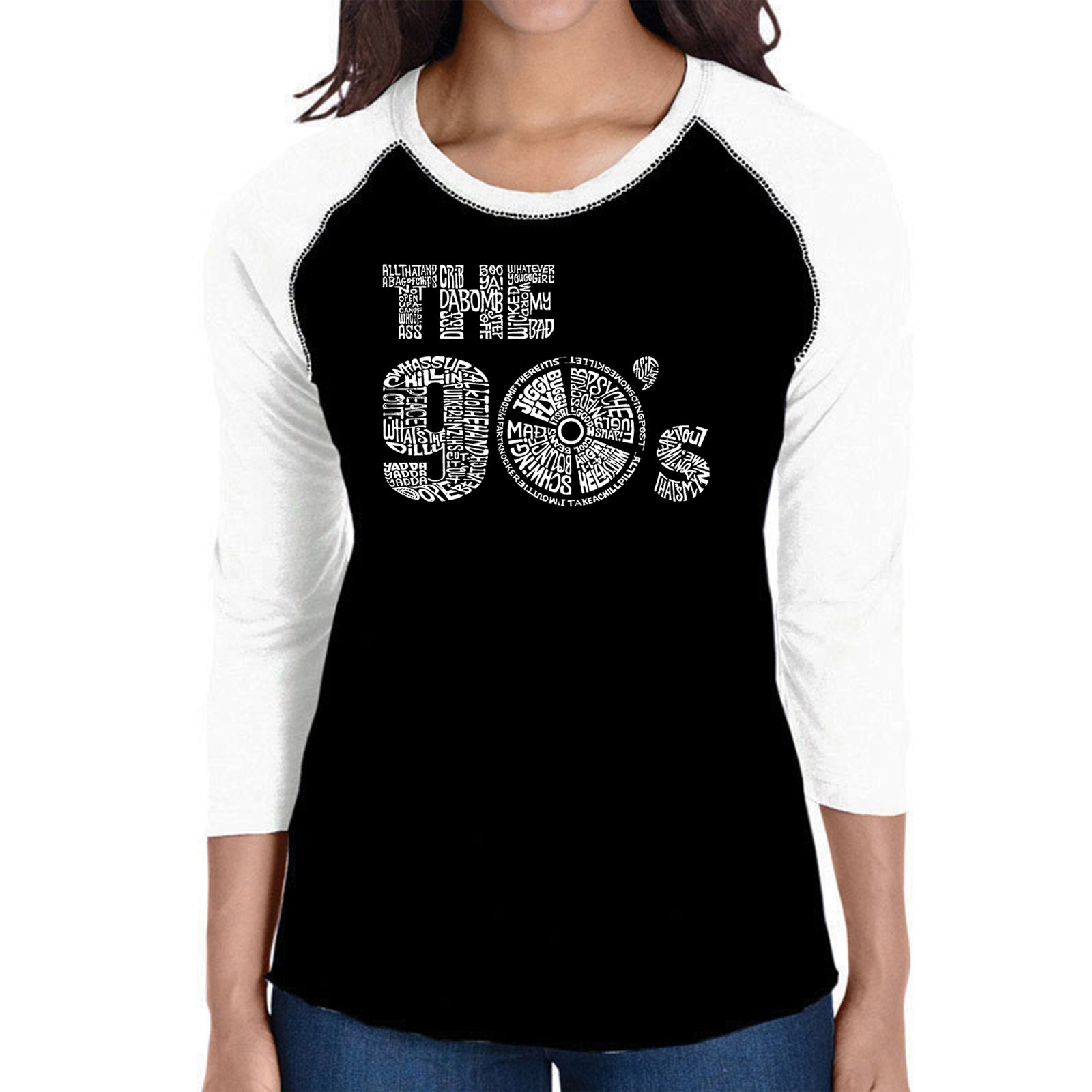 Women's Raglan Baseball Word Art T-shirt - 90S