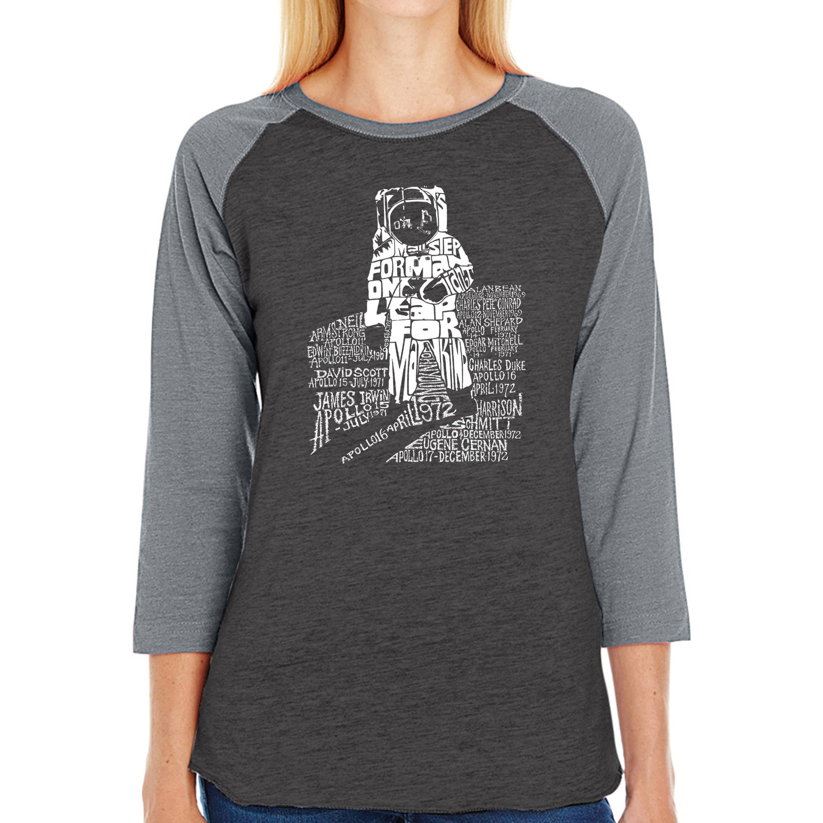Women's Raglan Baseball Word Art T-shirt - ASTRONAUT