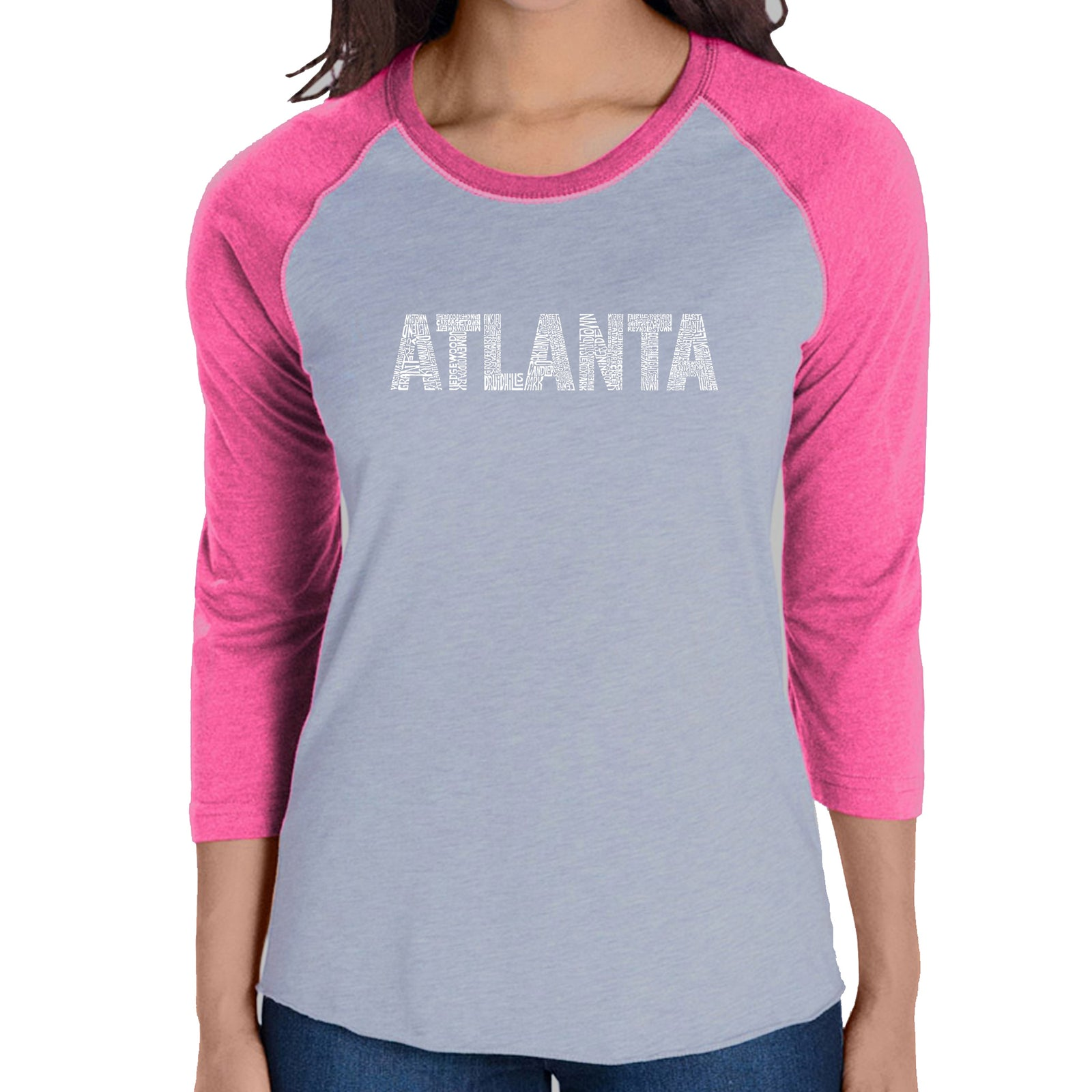 Women's Raglan Baseball Word Art T-shirt - ATLANTA NEIGHBORHOODS