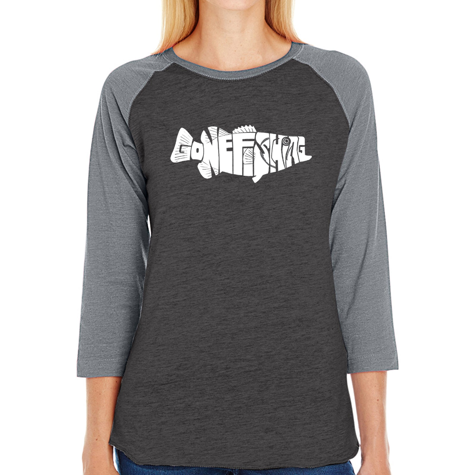 Women's Raglan Baseball Word Art T-shirt - Bass - Gone Fishing