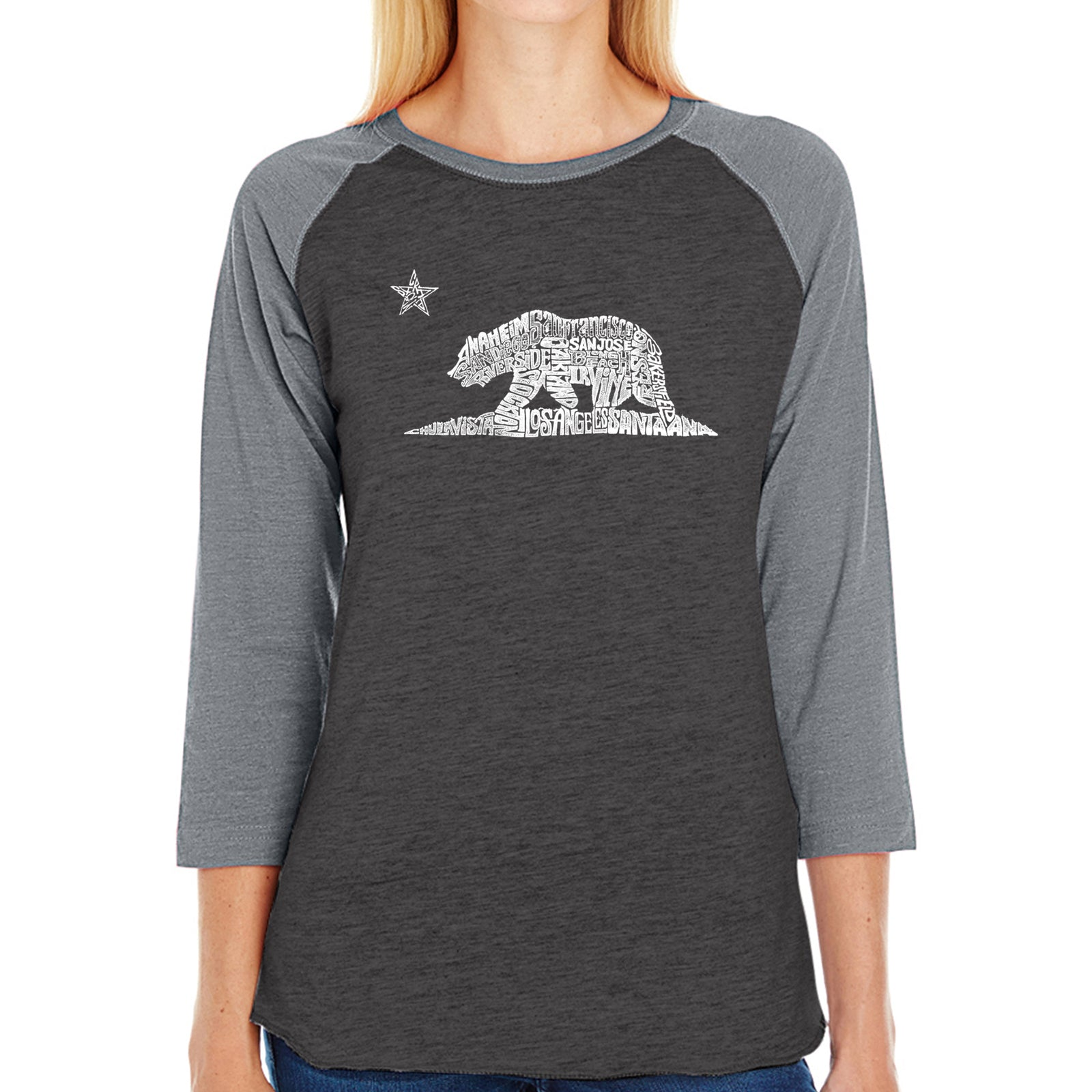 Women's Raglan Baseball Word Art T-shirt - California Bear