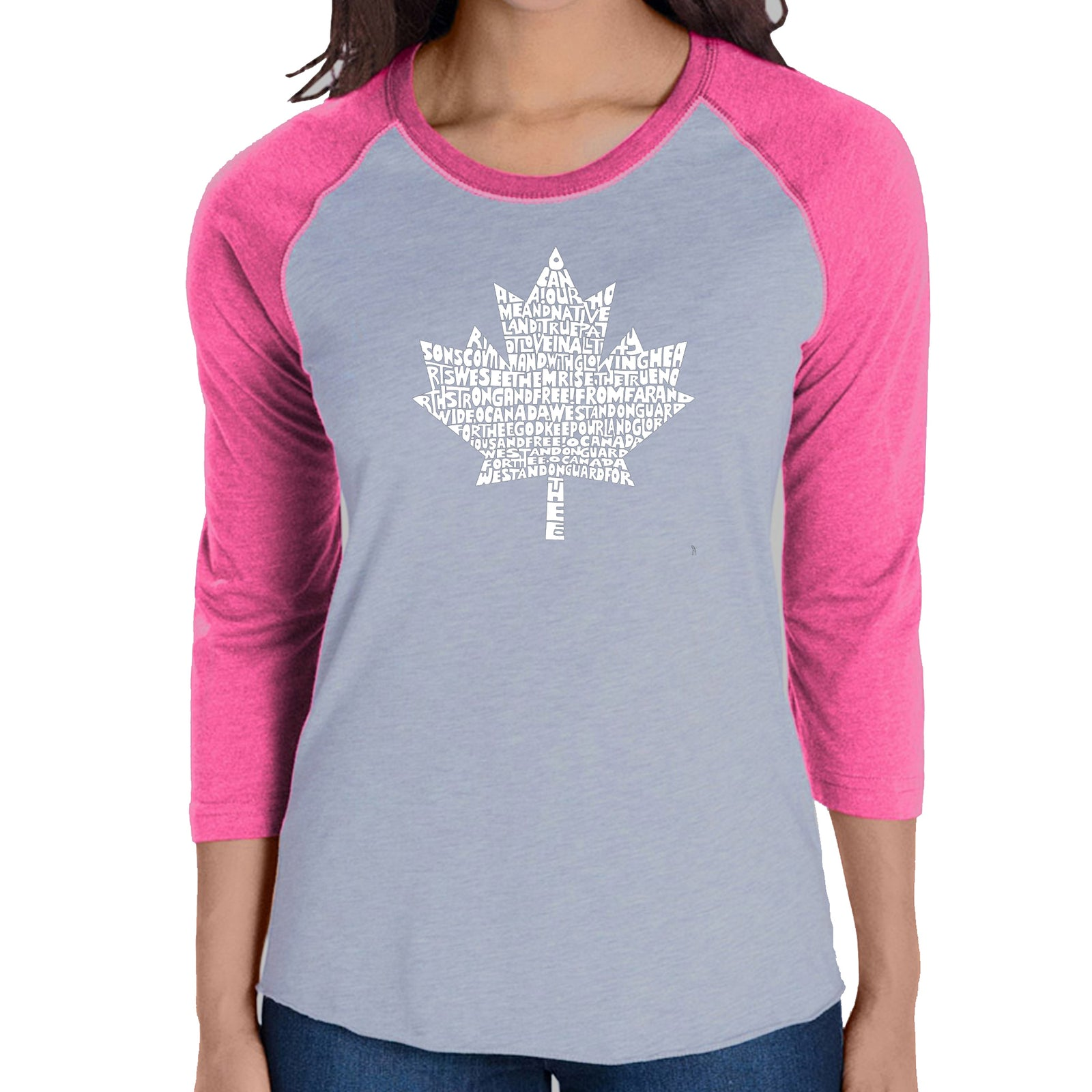 Women's Raglan Baseball Word Art T-shirt - CANADIAN NATIONAL ANTHEM