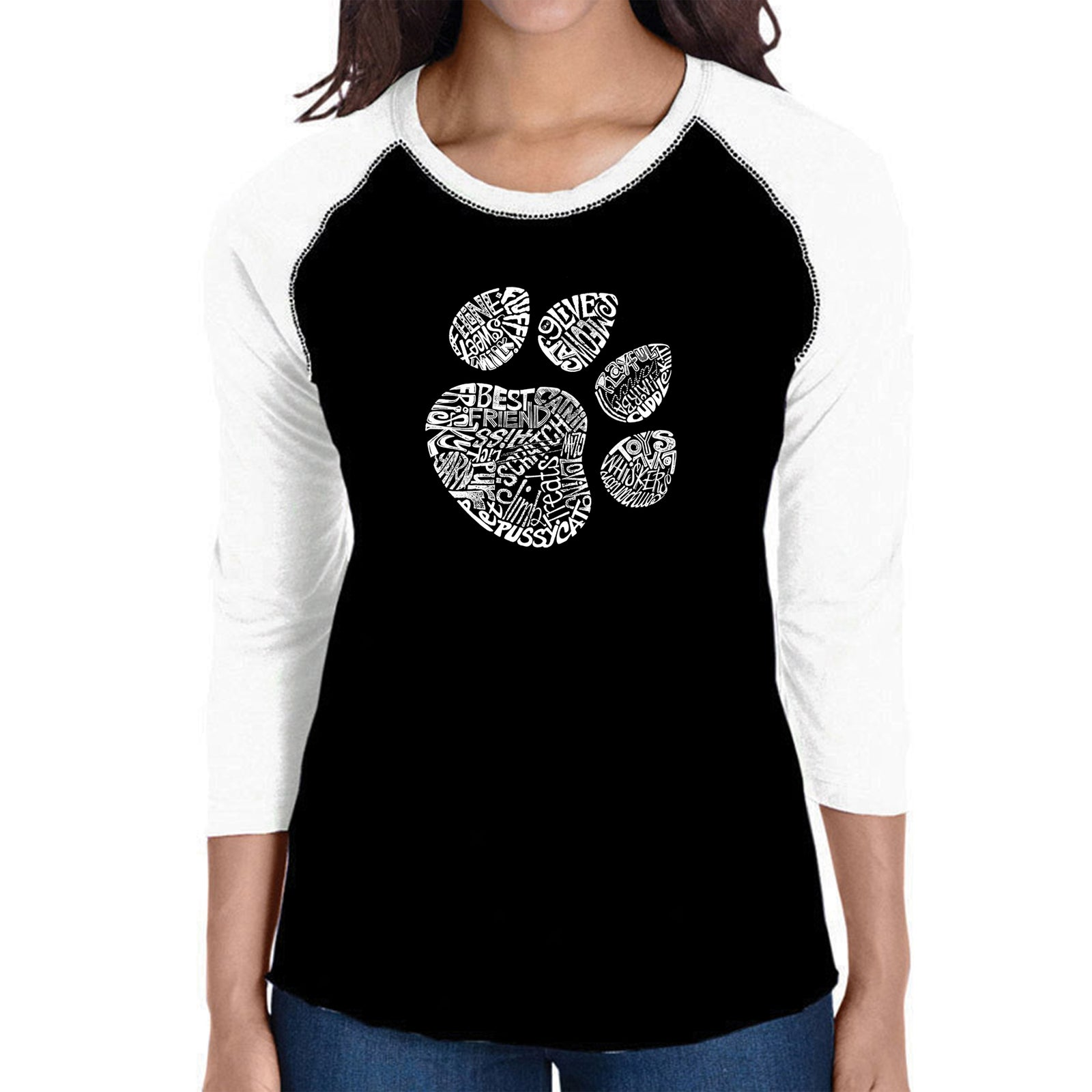 Women's Raglan Baseball Word Art T-shirt - Cat Paw