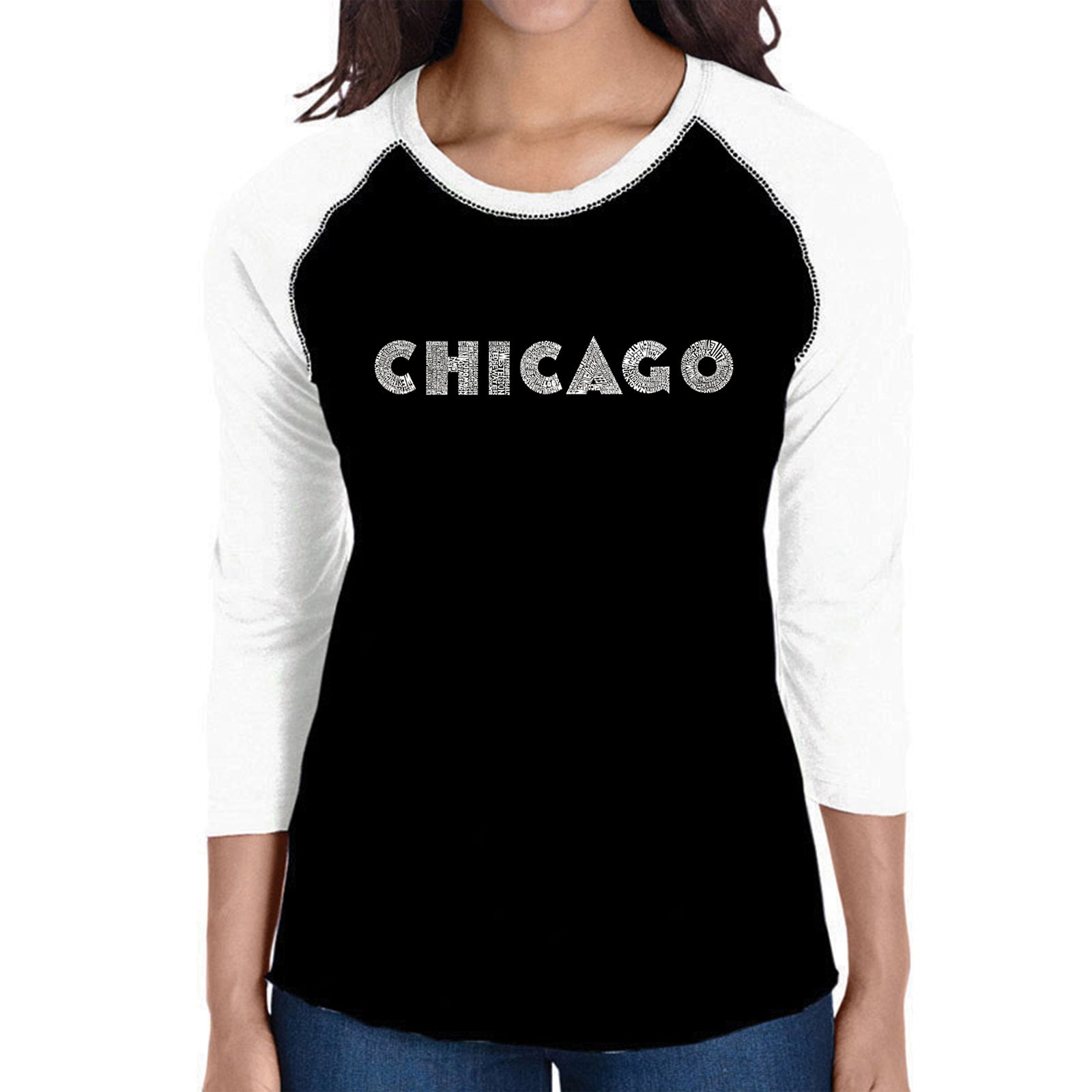 Women's Raglan Baseball Word Art T-shirt - CHICAGO NEIGHBORHOODS