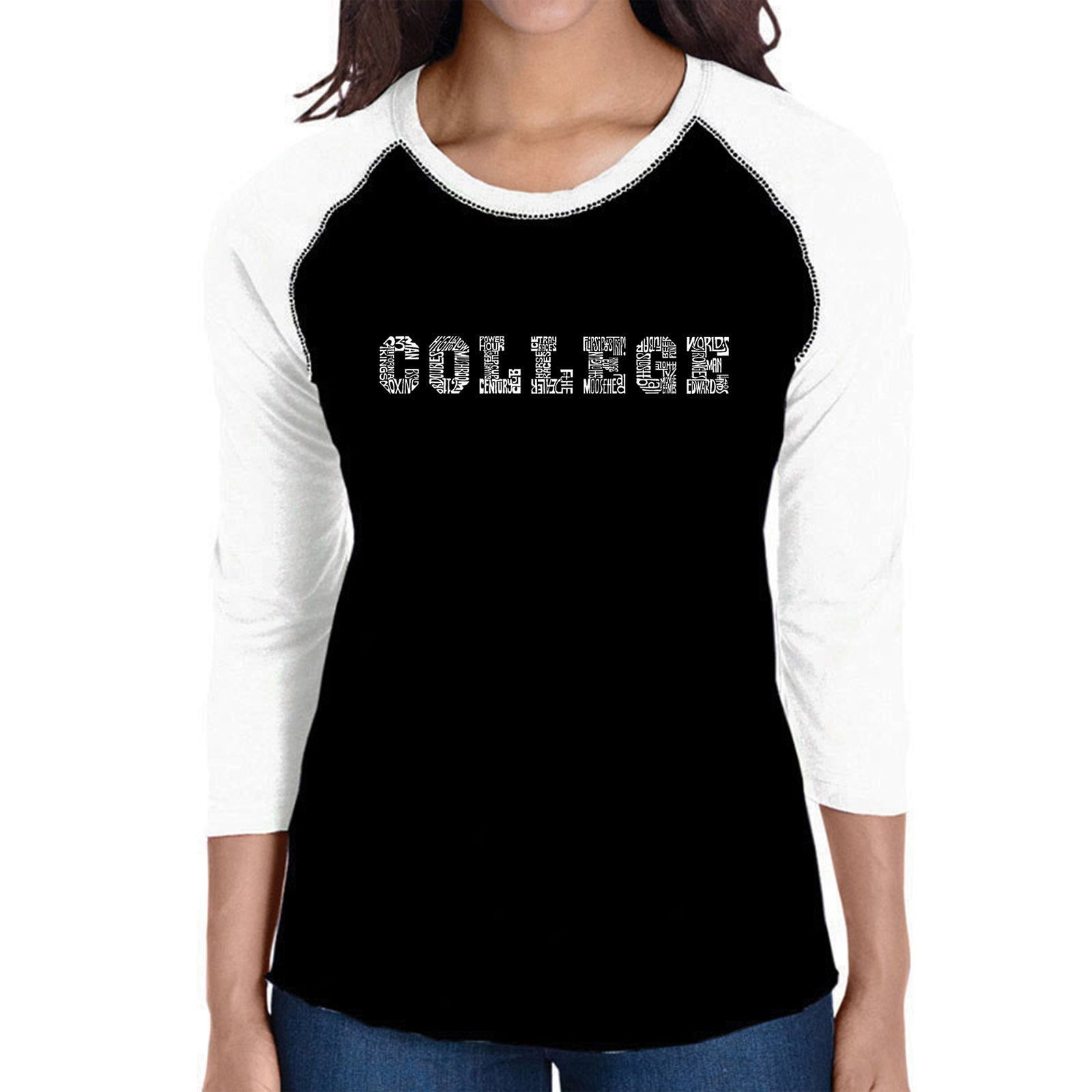 Women's Raglan Baseball Word Art T-shirt - COLLEGE DRINKING GAMES