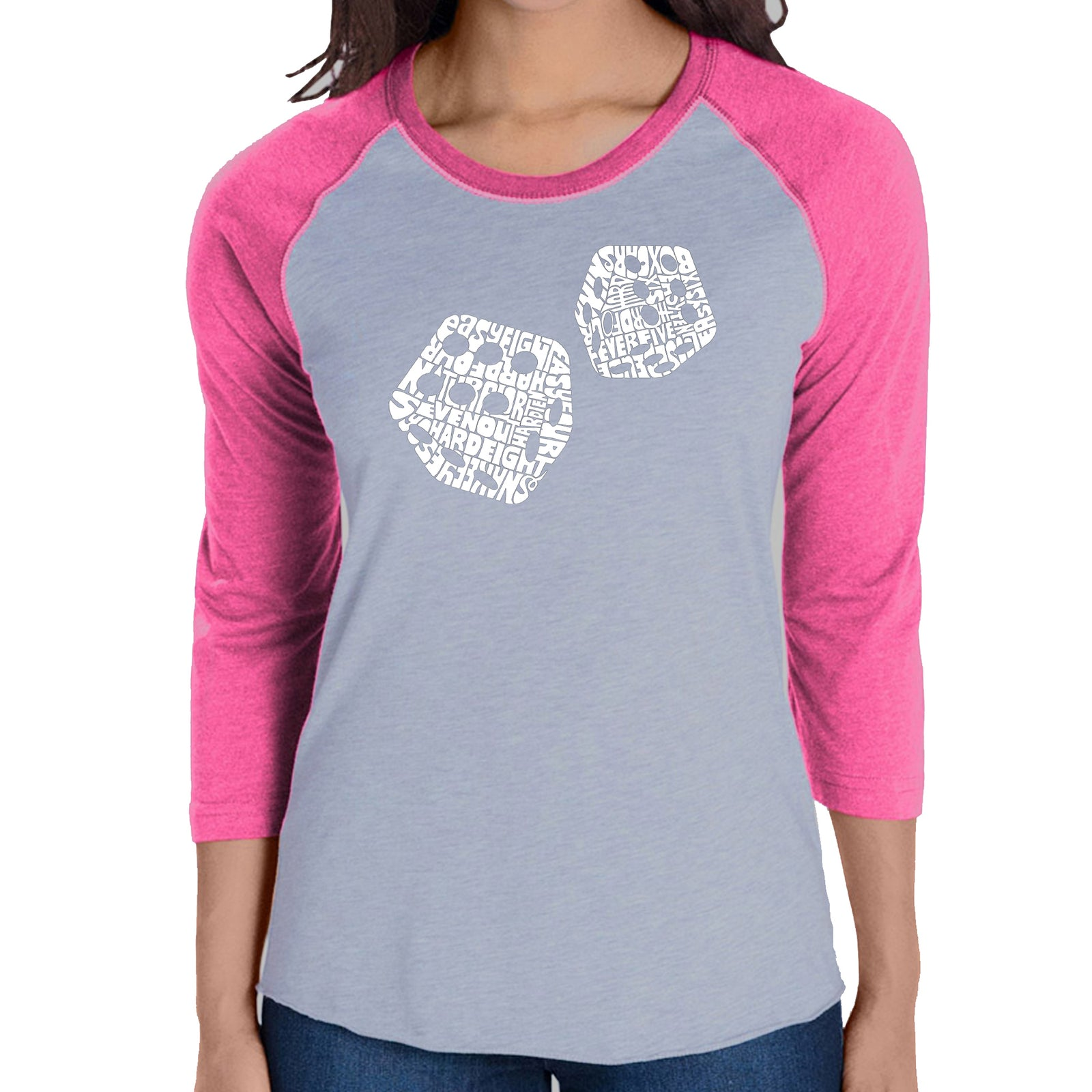 Women's Raglan Baseball Word Art T-shirt - DIFFERENT ROLLS THROWN IN THE GAME OF CRAPS