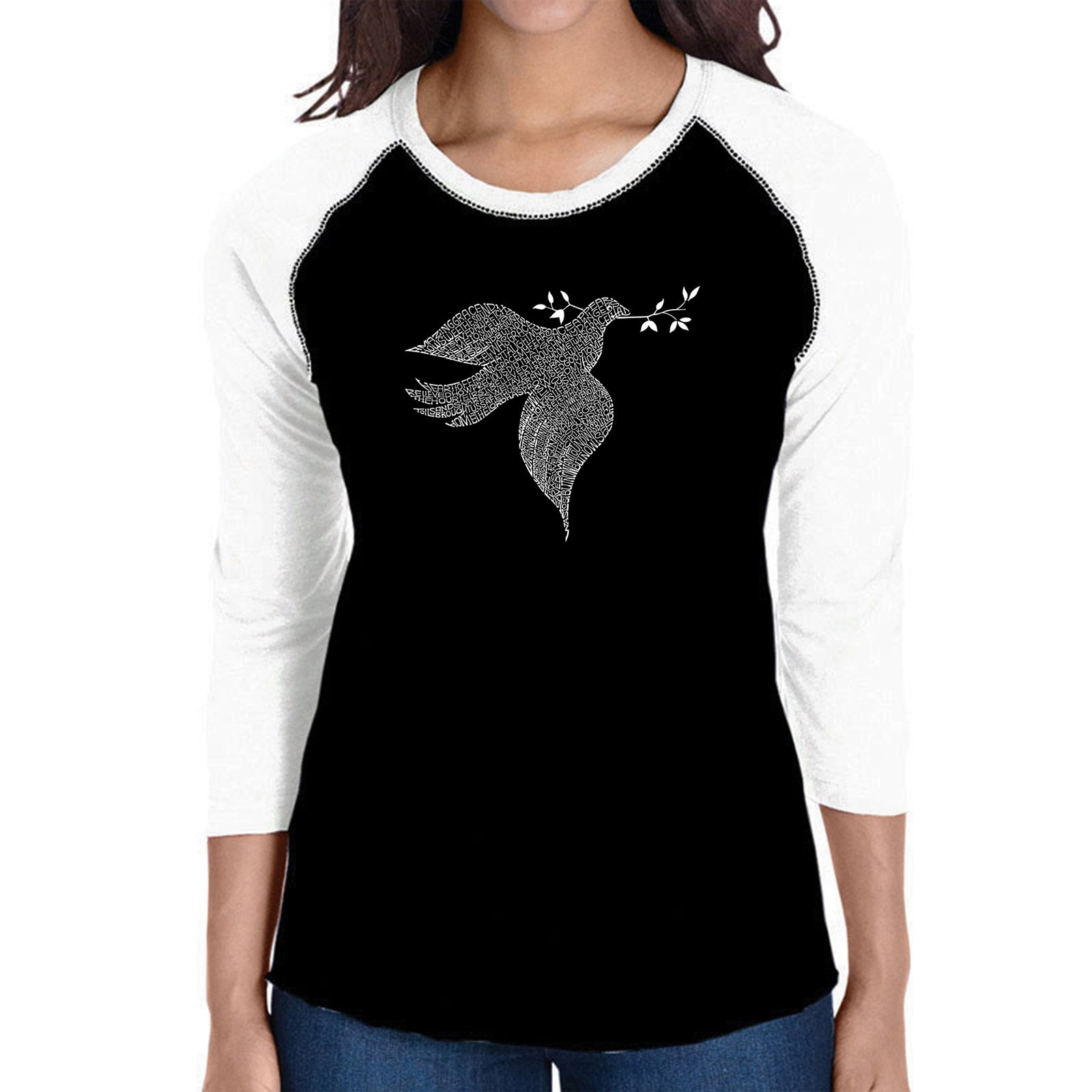 Women's Raglan Baseball Word Art T-shirt - Dove