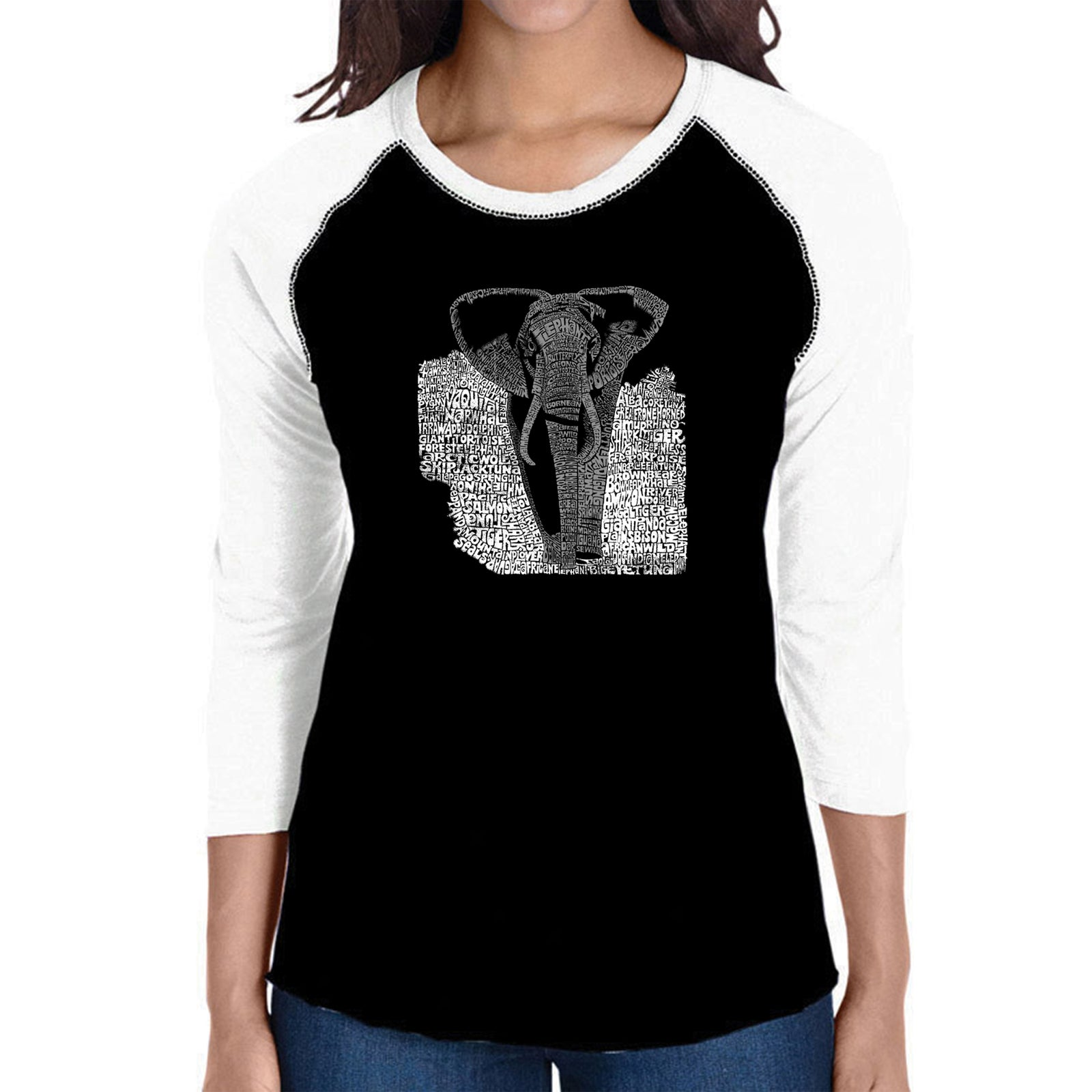 Women's Raglan Baseball Word Art T-shirt - ELEPHANT