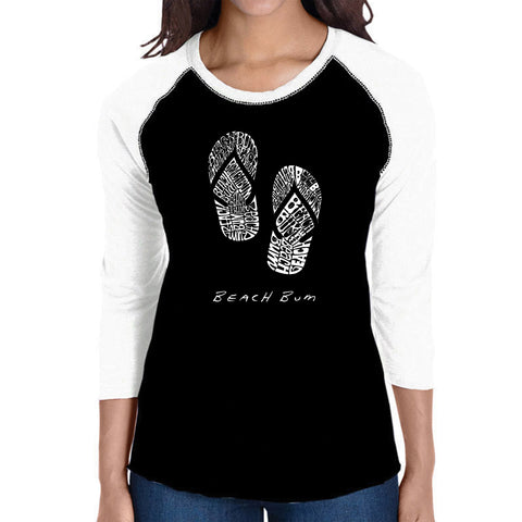 Women's Raglan Baseball Word Art T-shirt - Types of Deer