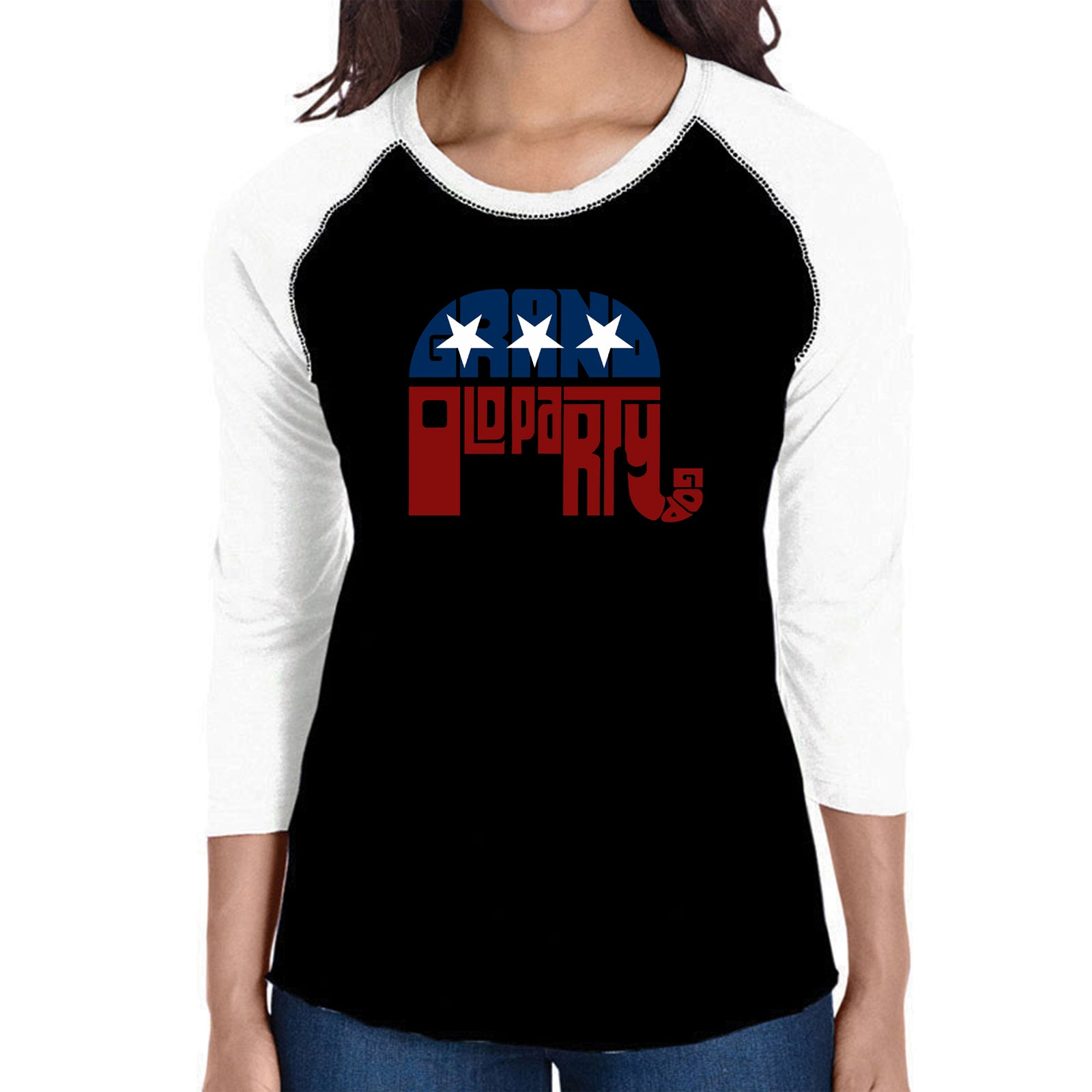 Women's Raglan Baseball Word Art T-shirt - REPUBLICAN - GRAND OLD PARTY