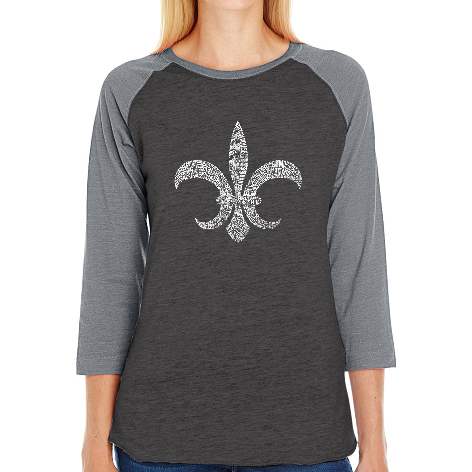 Women's Raglan Baseball Word Art T-shirt - FLEUR DE LIS - POPULAR LOUISIANA CITIES