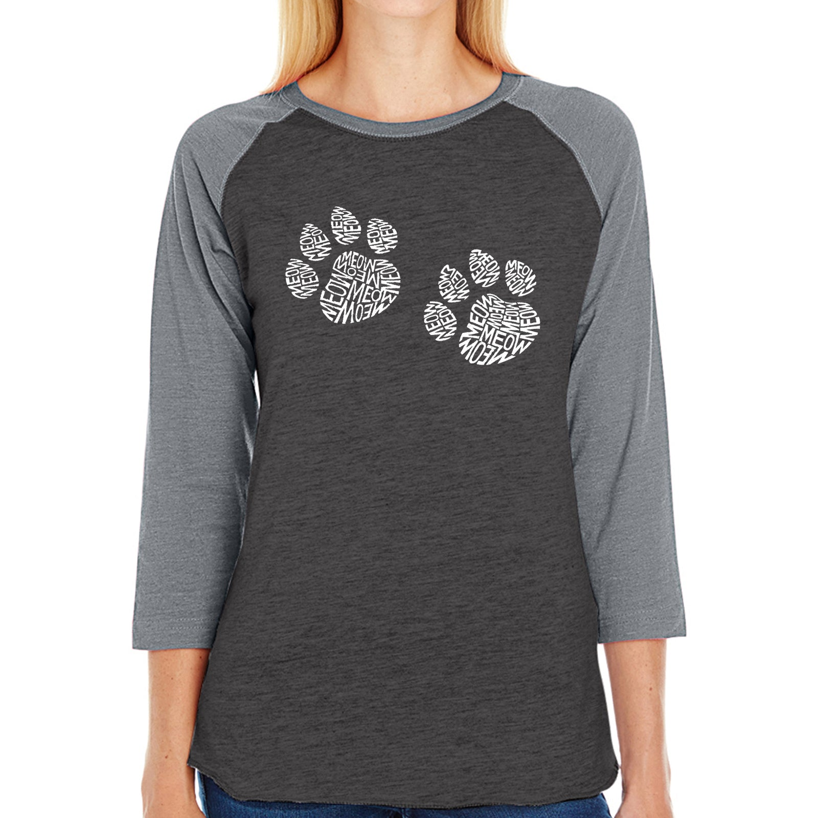Women's Raglan Baseball Word Art T-shirt - Meow Cat Prints