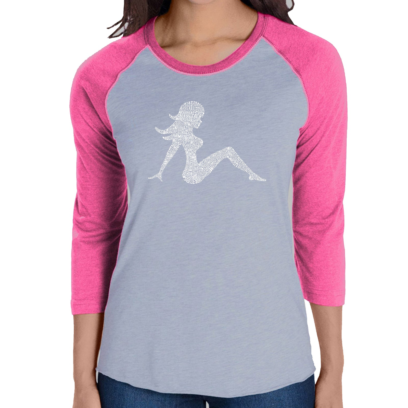 Women's Raglan Baseball Word Art T-shirt - MUDFLAP GIRL