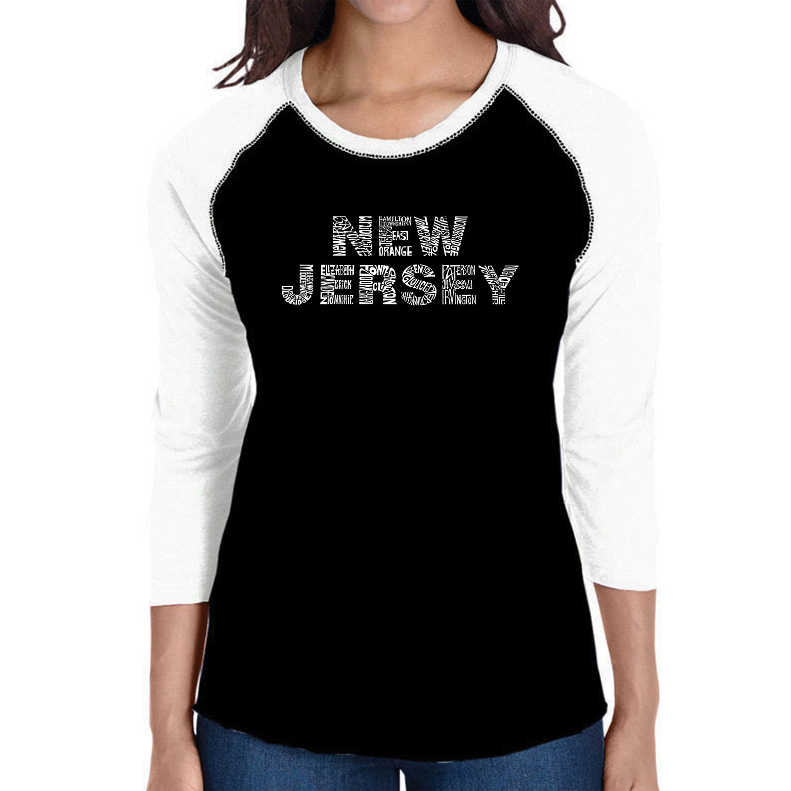 Women's Raglan Baseball Word Art T-shirt - NEW JERSEY NEIGHBORHOODS