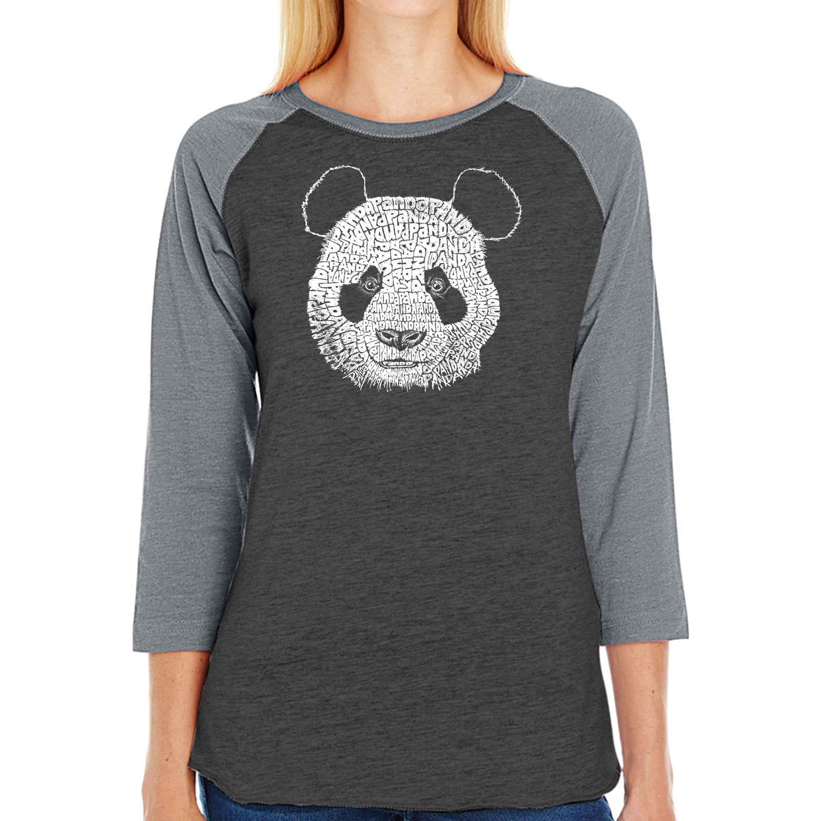 Women's Raglan Baseball Word Art T-shirt - Panda