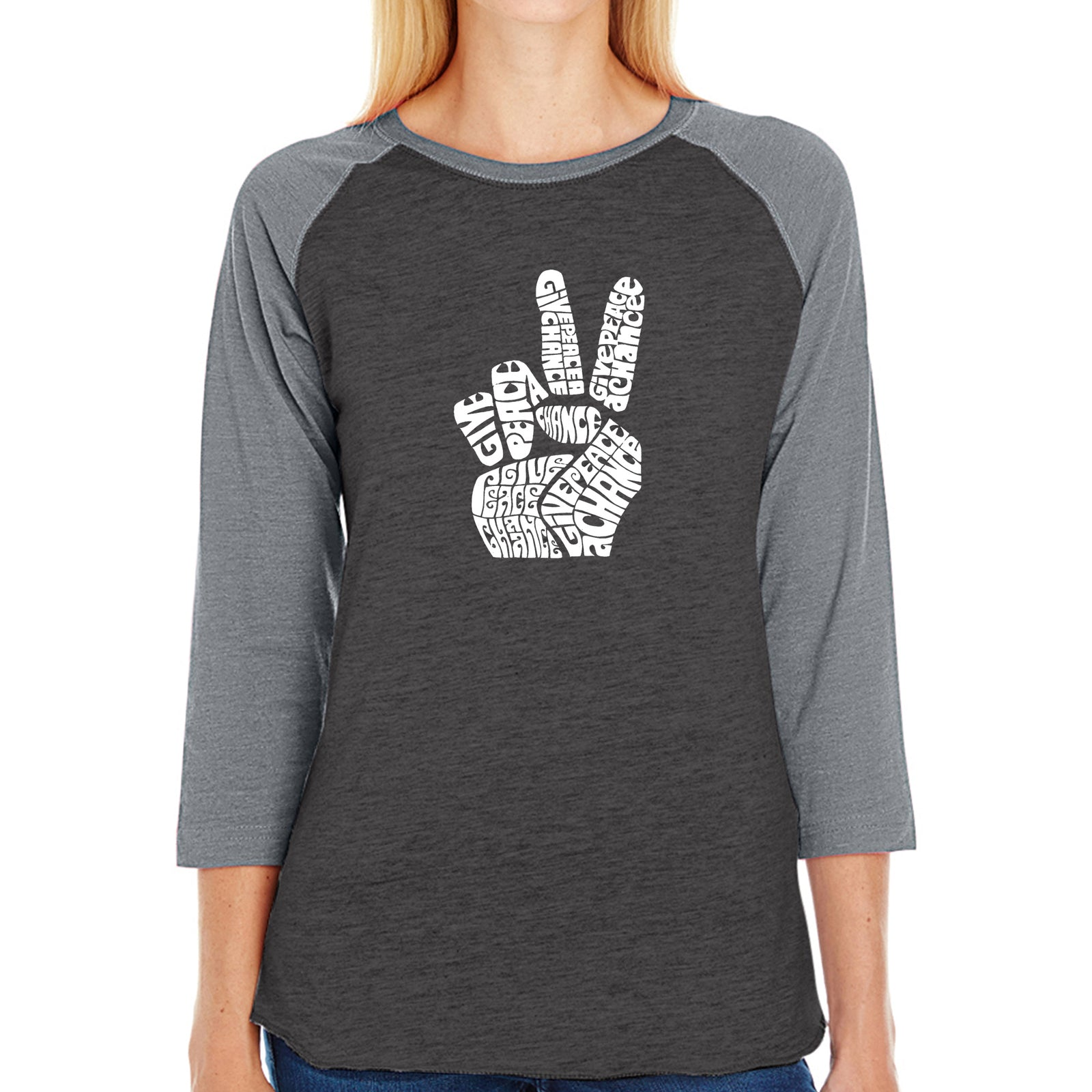 Women's Raglan Baseball Word Art T-shirt - PEACE FINGERS